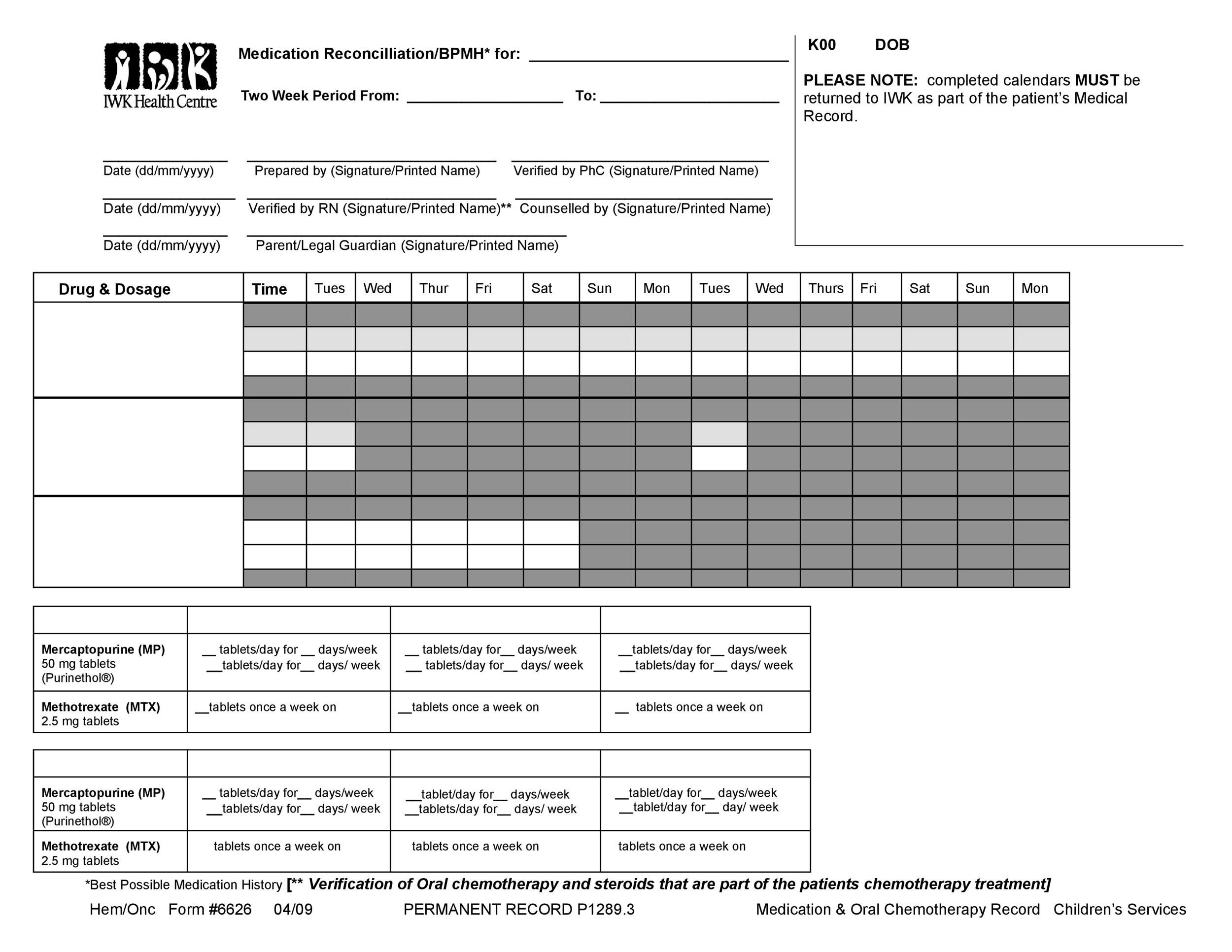 Free medication schedule template 31
