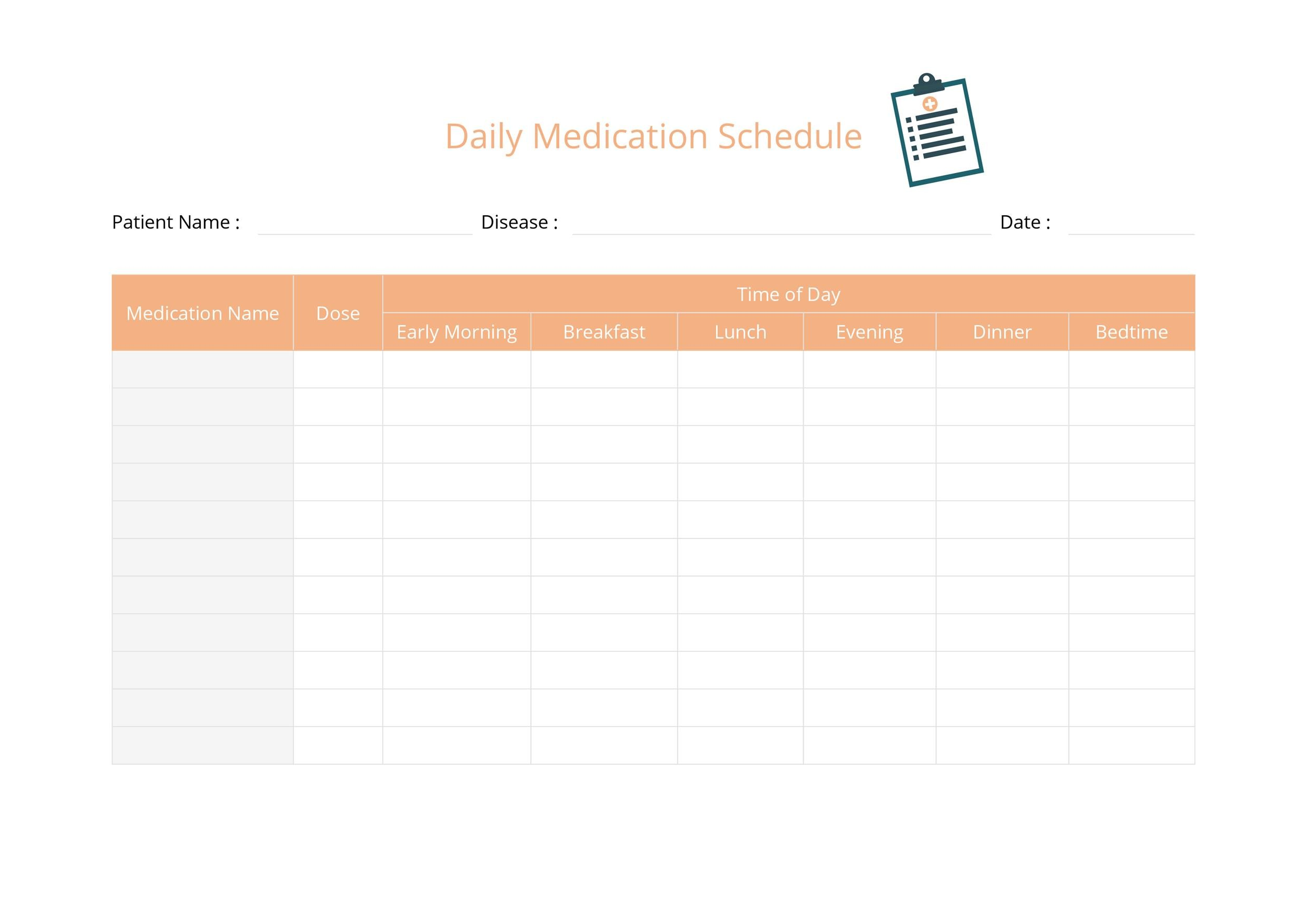 Free medication schedule template 32