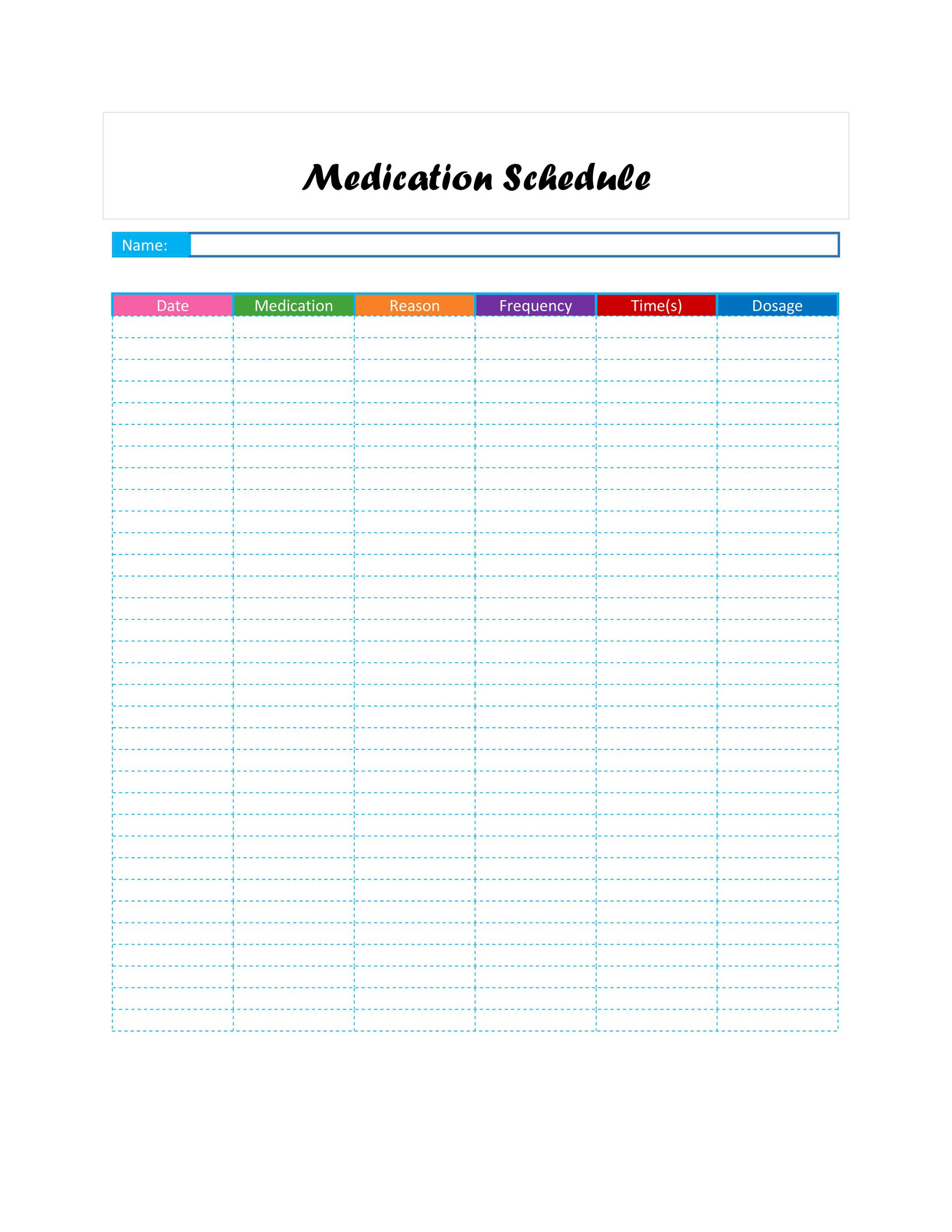 Free medication schedule template 34