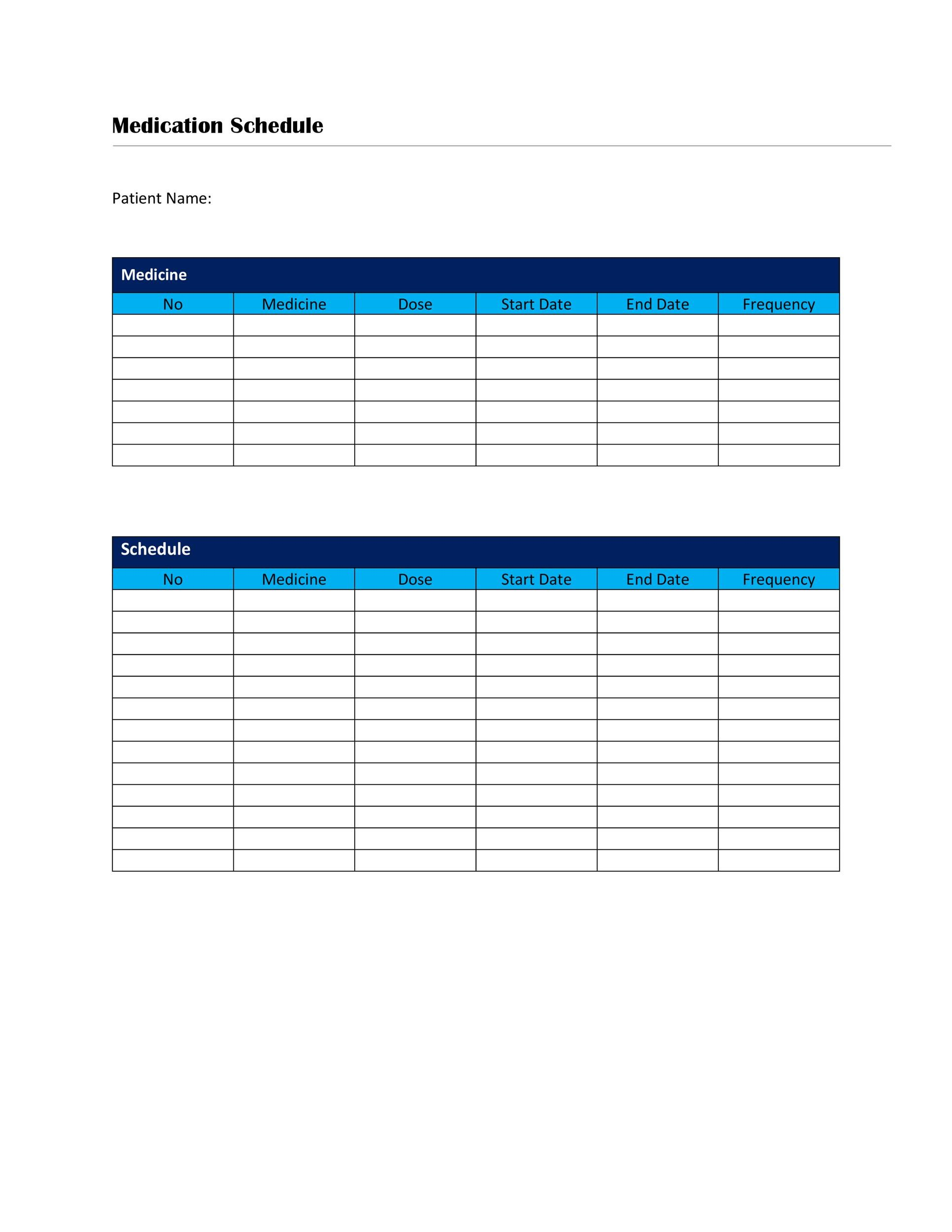 Free medication schedule template 35