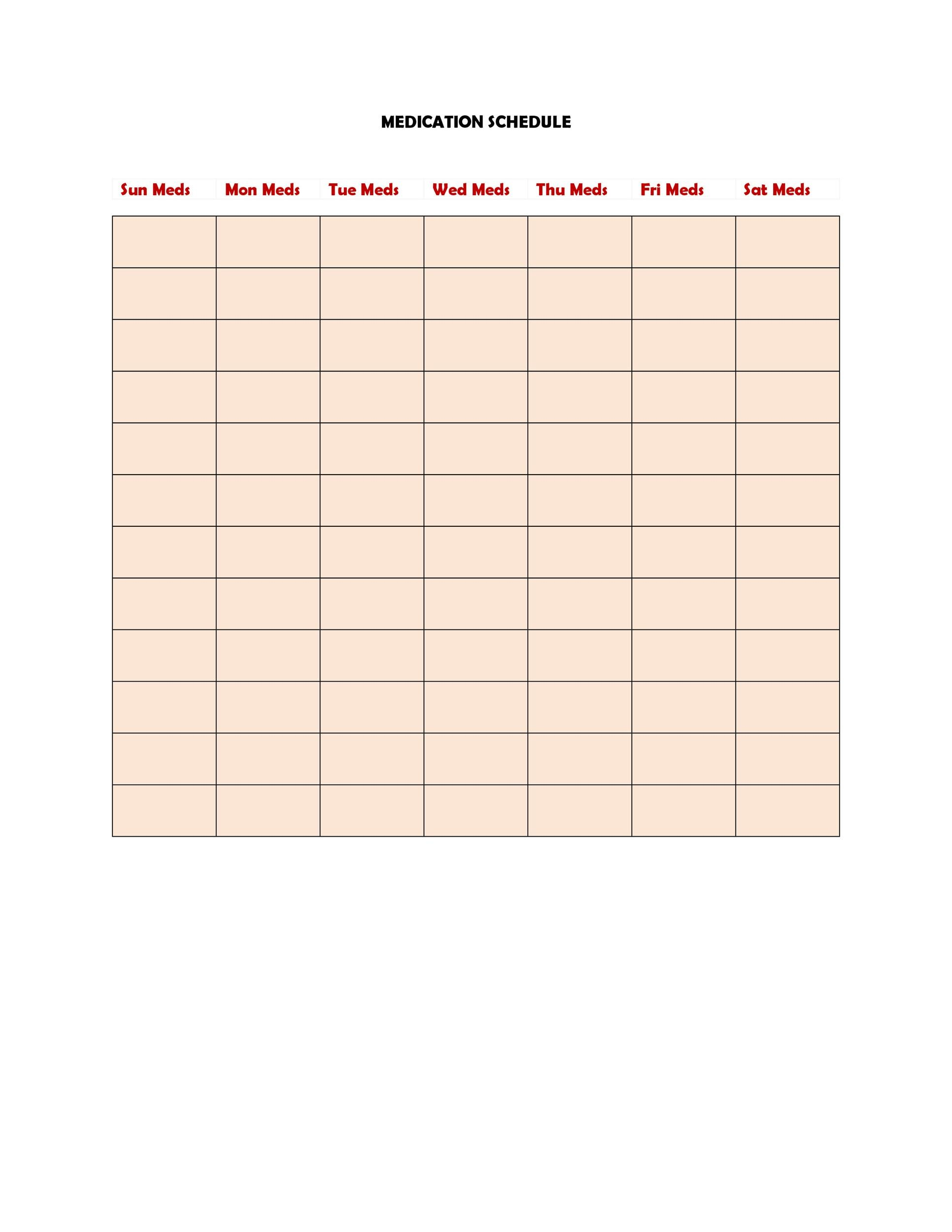 Free medication schedule template 36