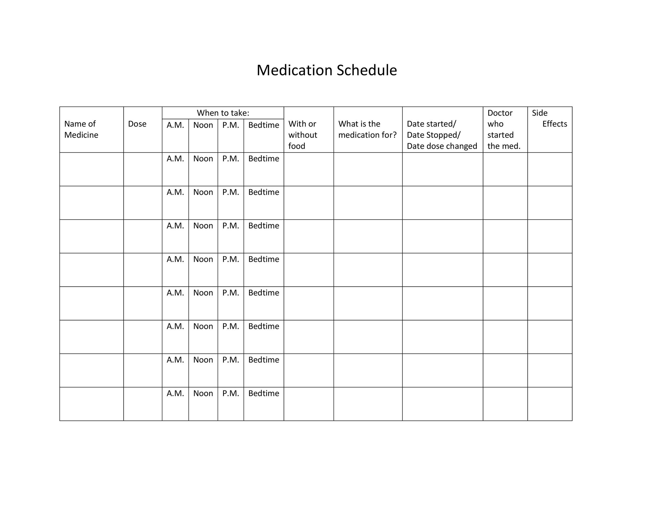 Free medication schedule template 38