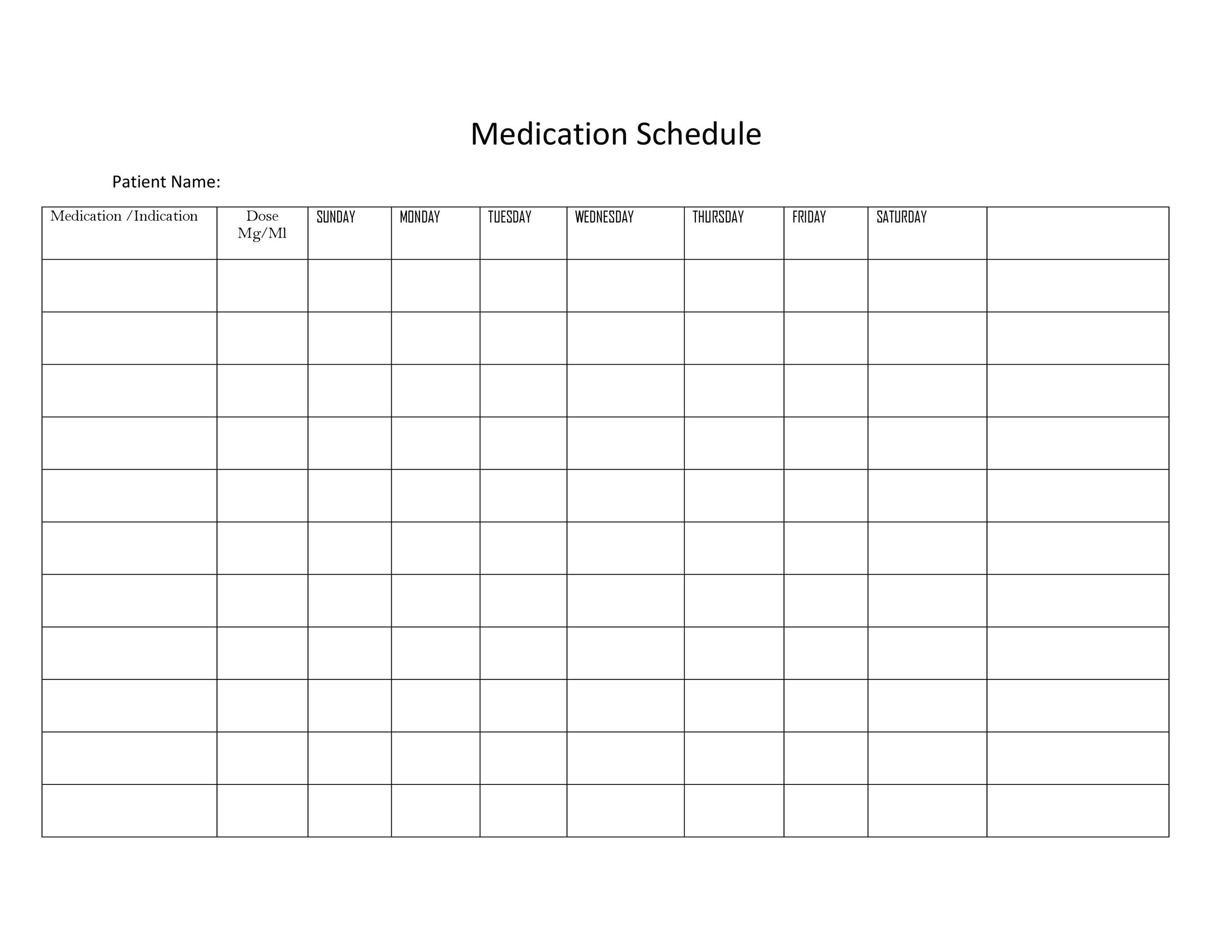 Free medication schedule template 39
