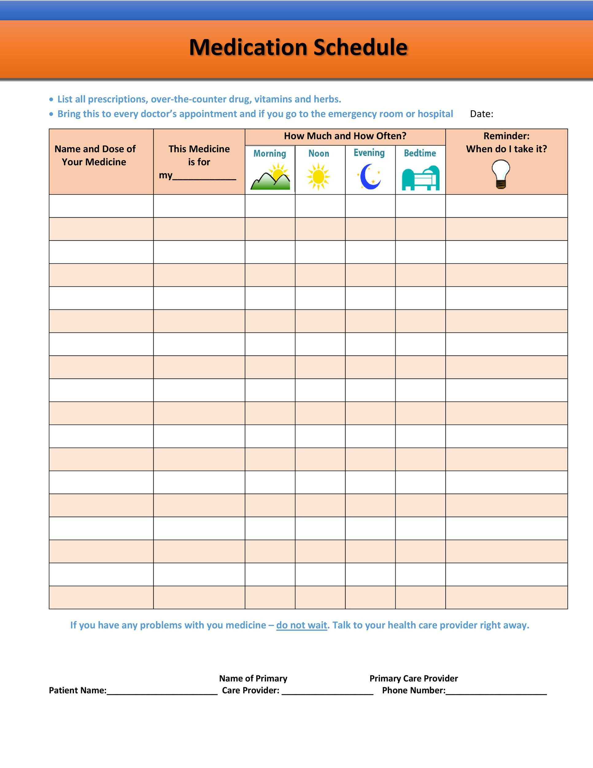 Free medication schedule template 40
