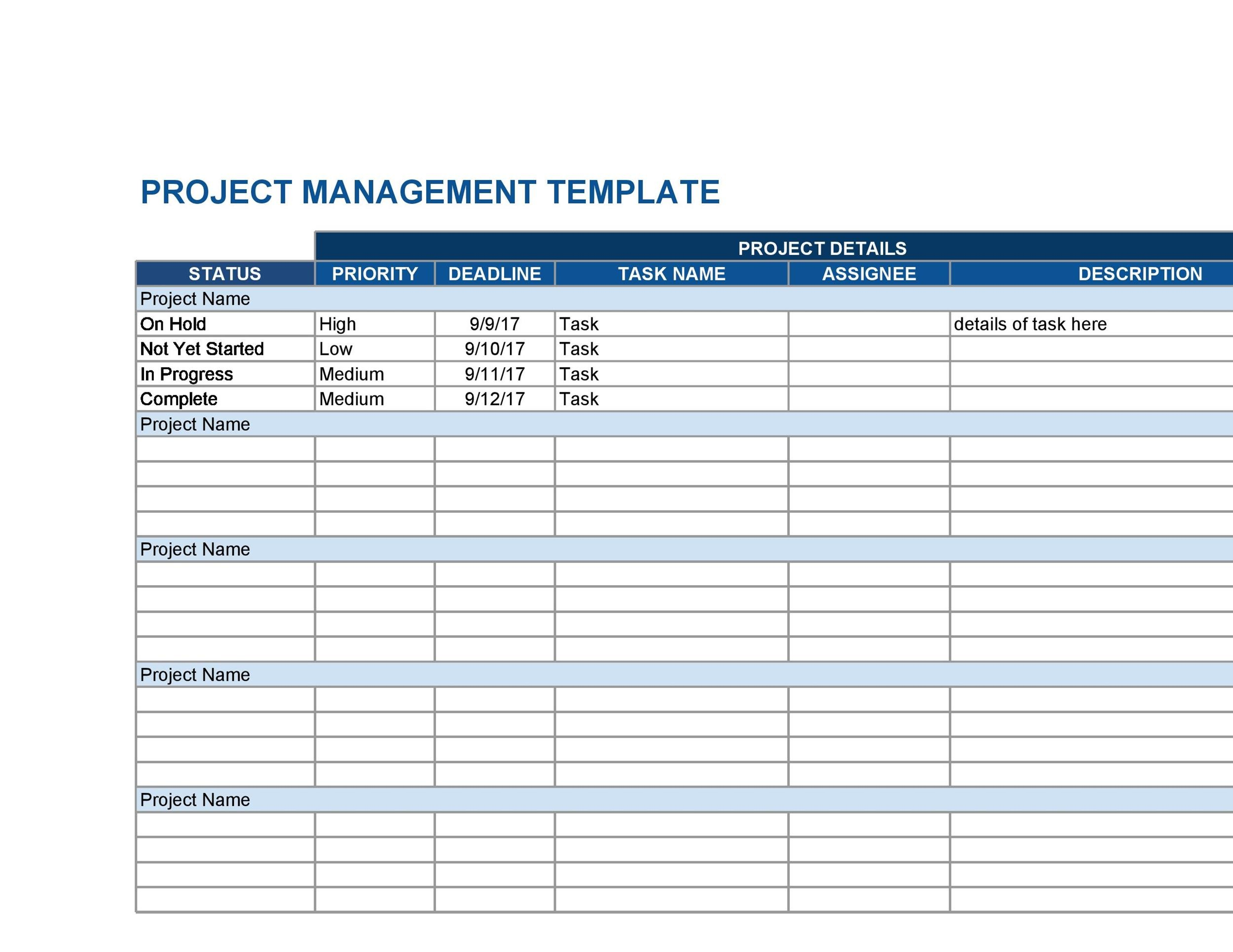 Free multiple project tracking template 22