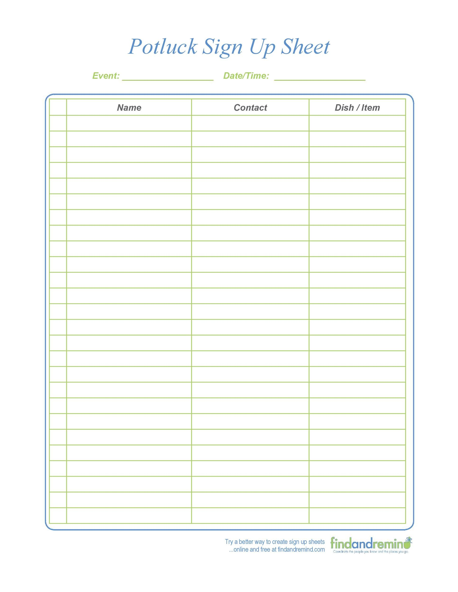 Free potluck sign up sheet 04