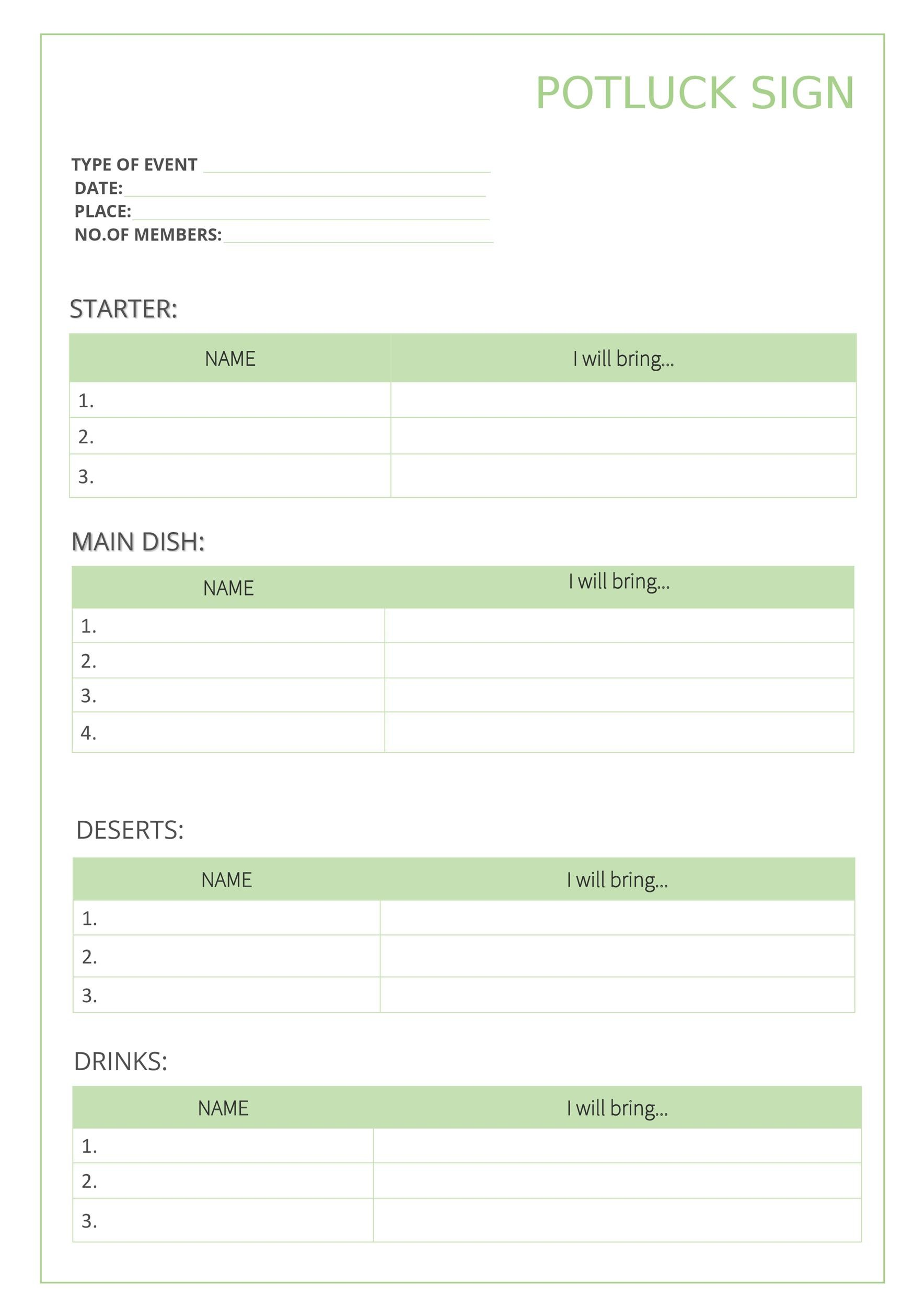 Free potluck sign up sheet 06
