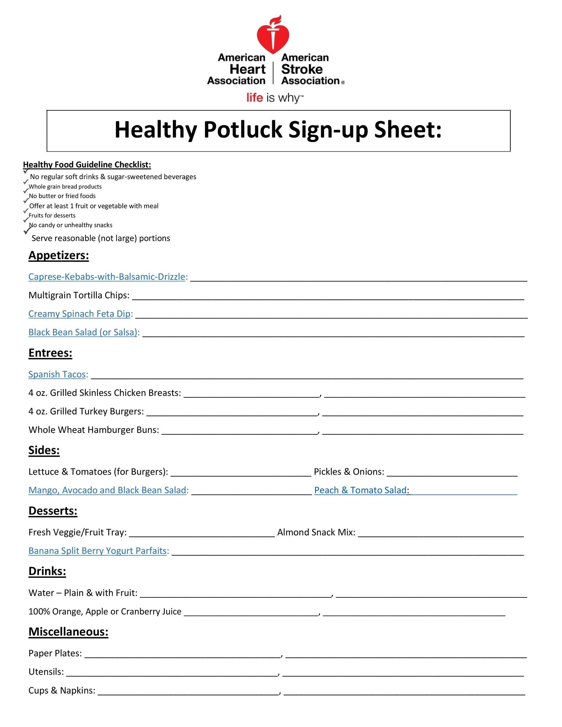 Free potluck sign up sheet 08