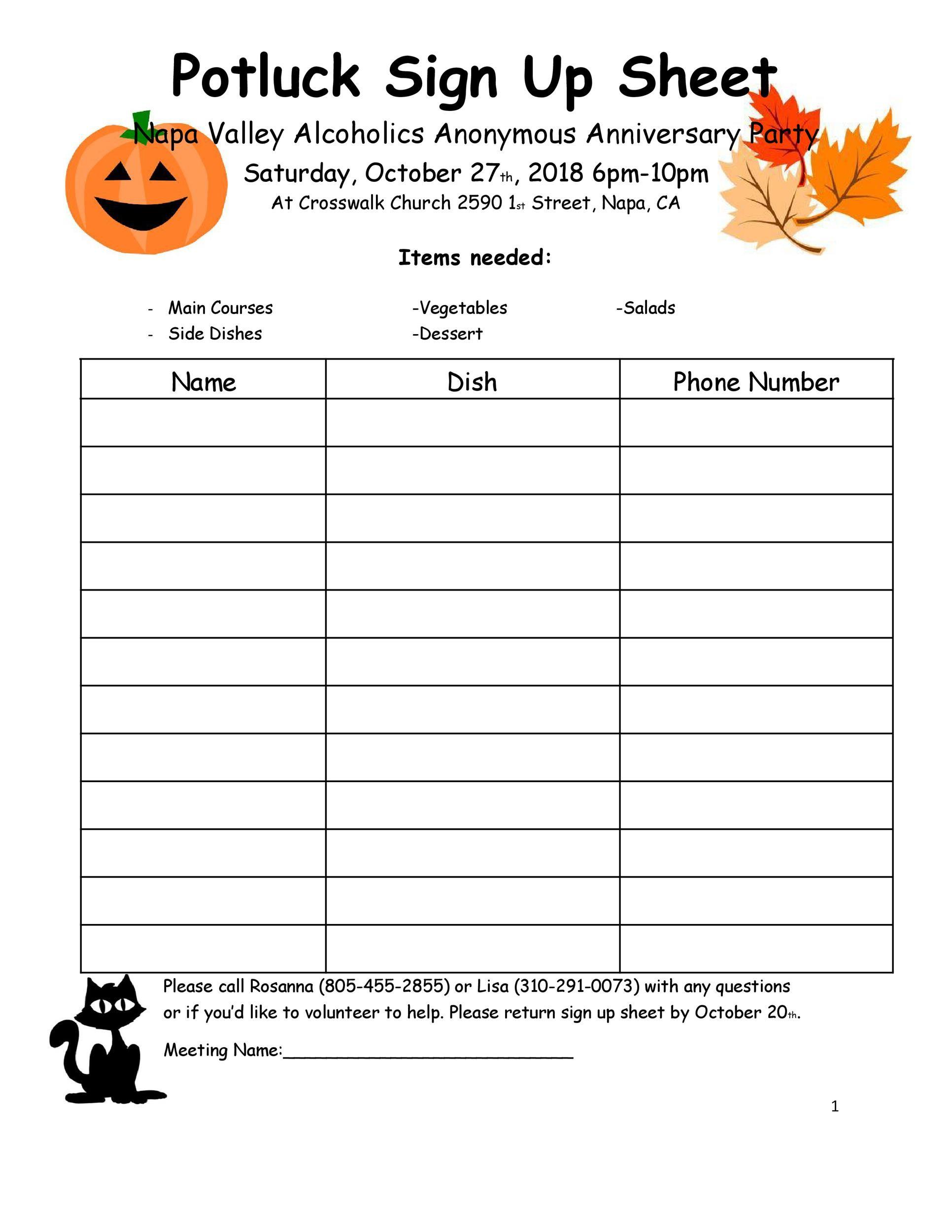 Free potluck sign up sheet 15