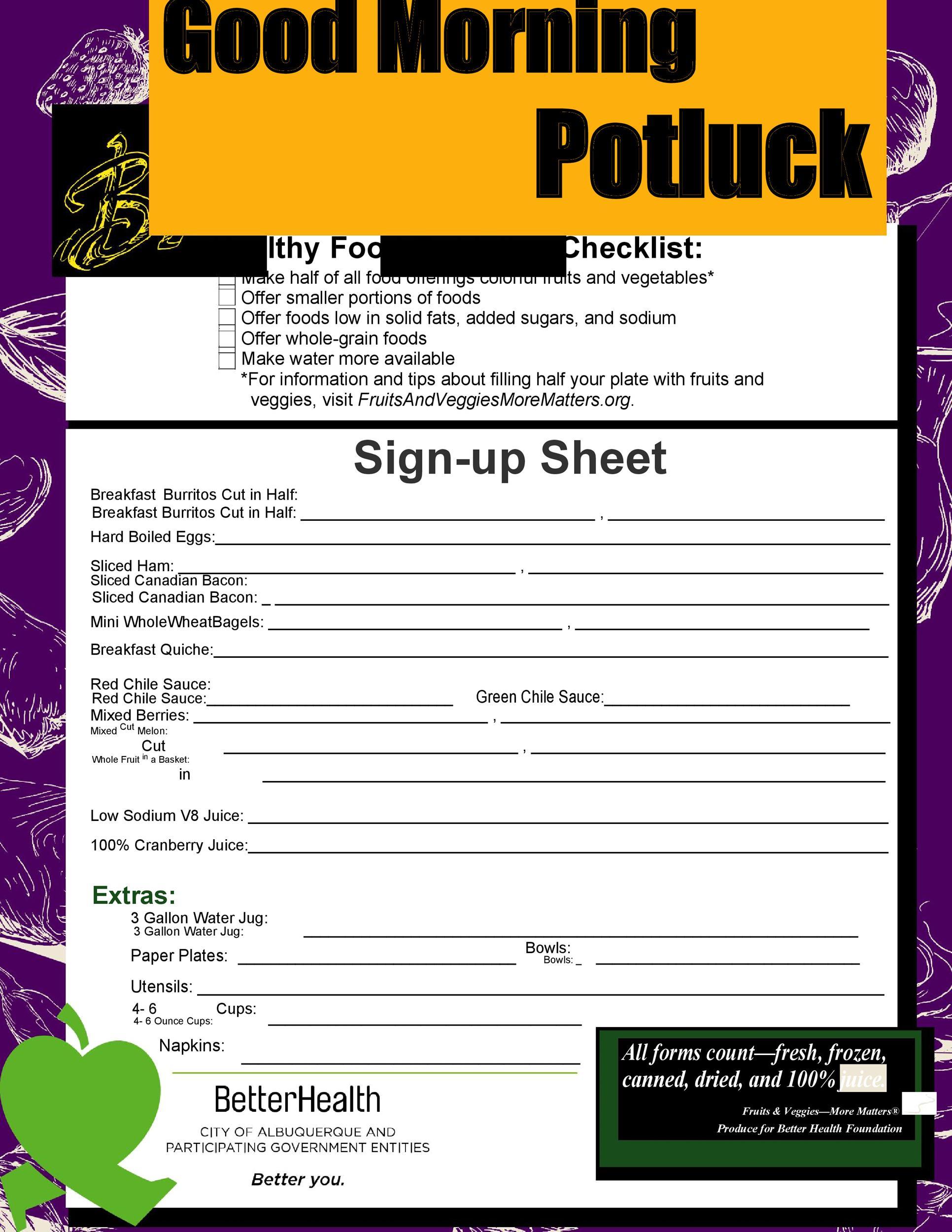 Free potluck sign up sheet 17