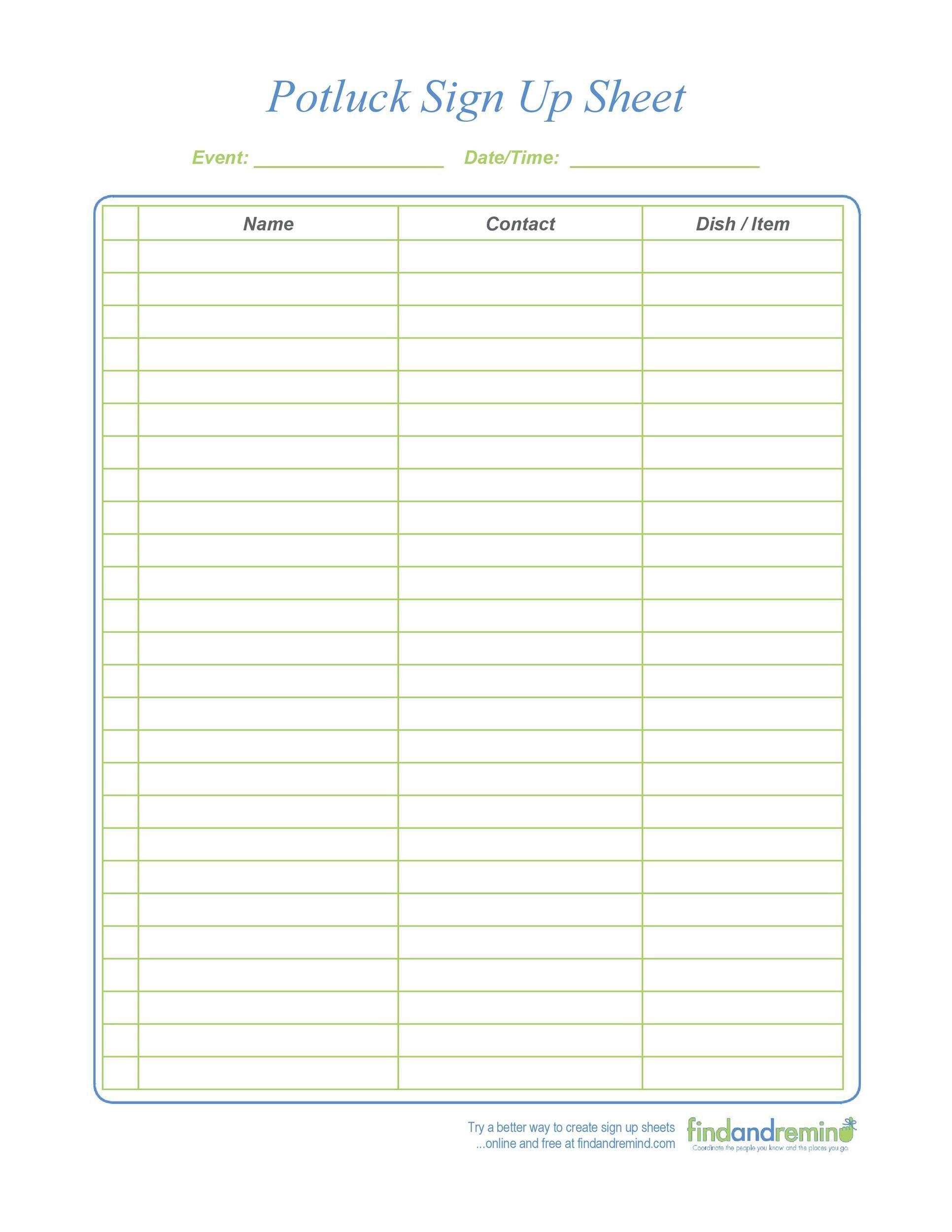 Free potluck sign up sheet 21
