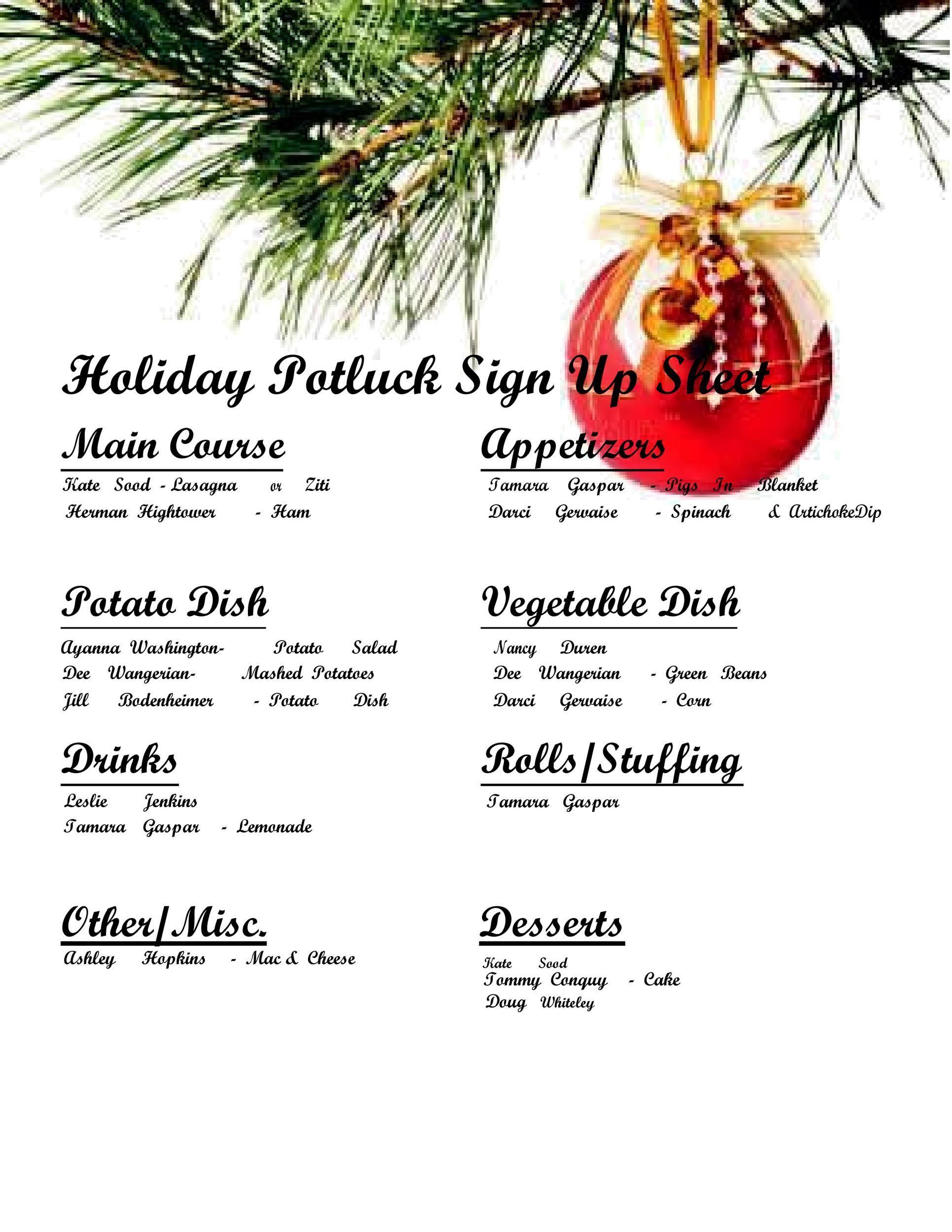 Free potluck sign up sheet 27
