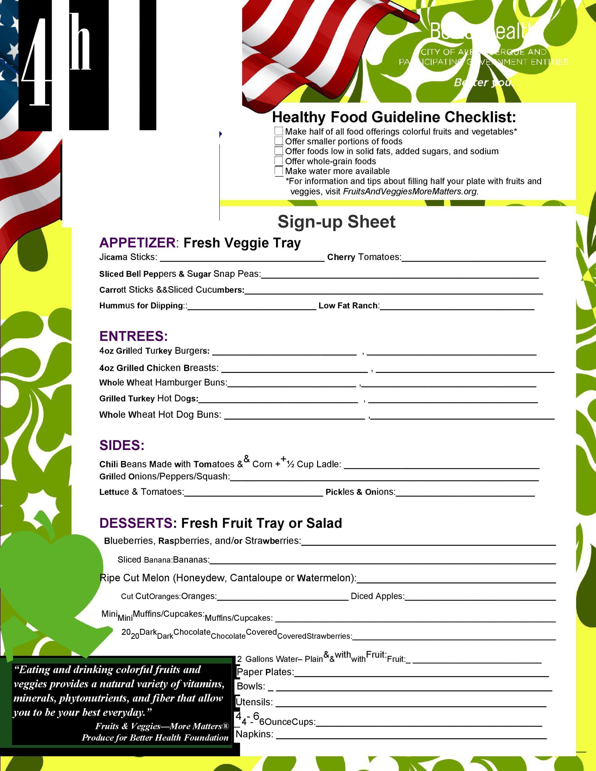 Free potluck sign up sheet 32