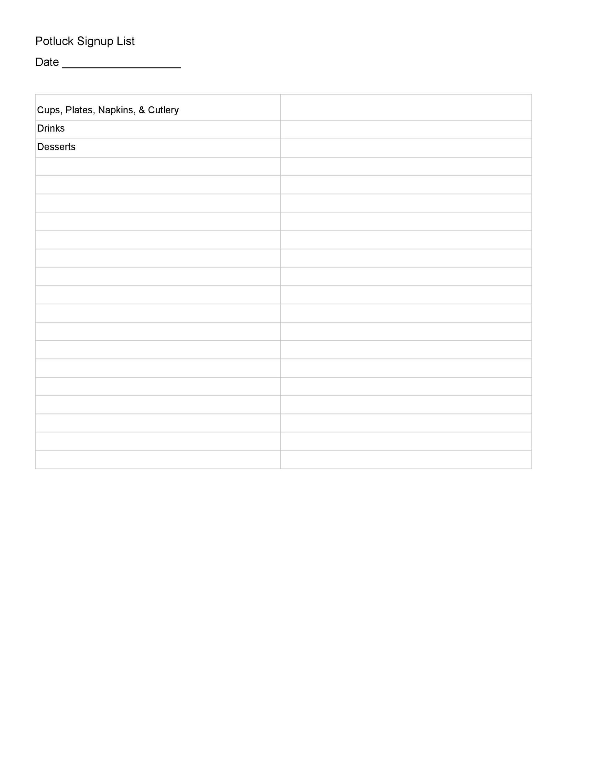 Free potluck sign up sheet 37