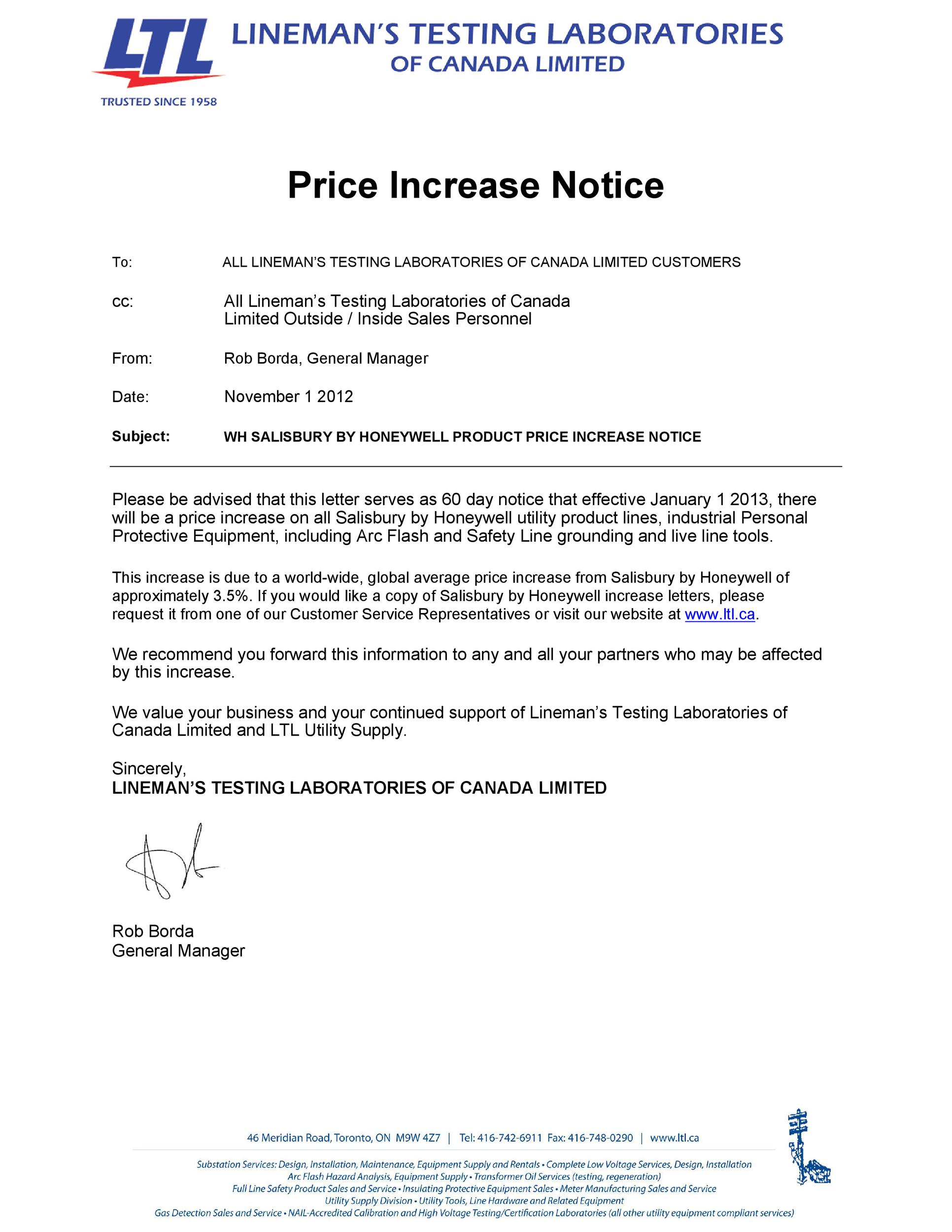 Free price increase letter 13