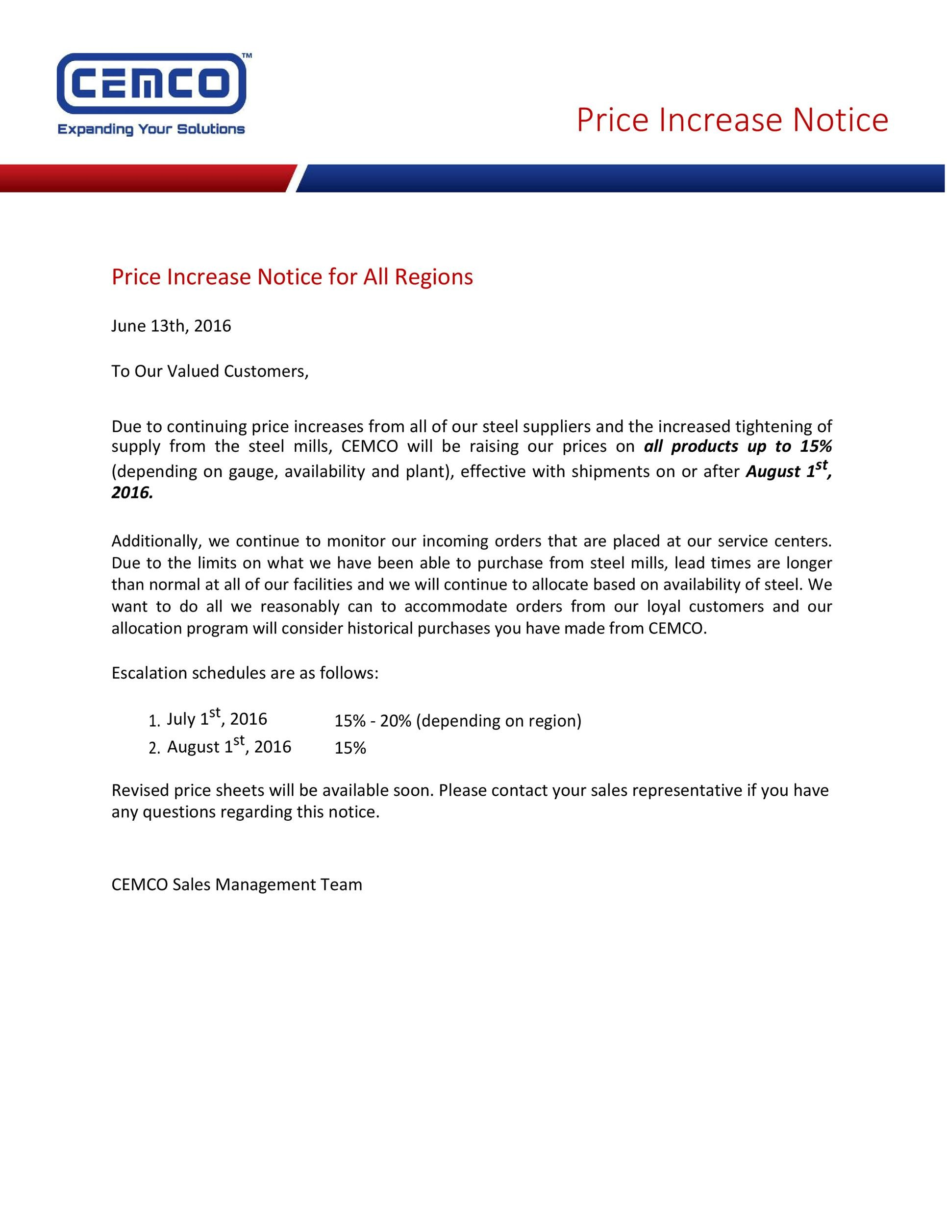 Free price increase letter 18