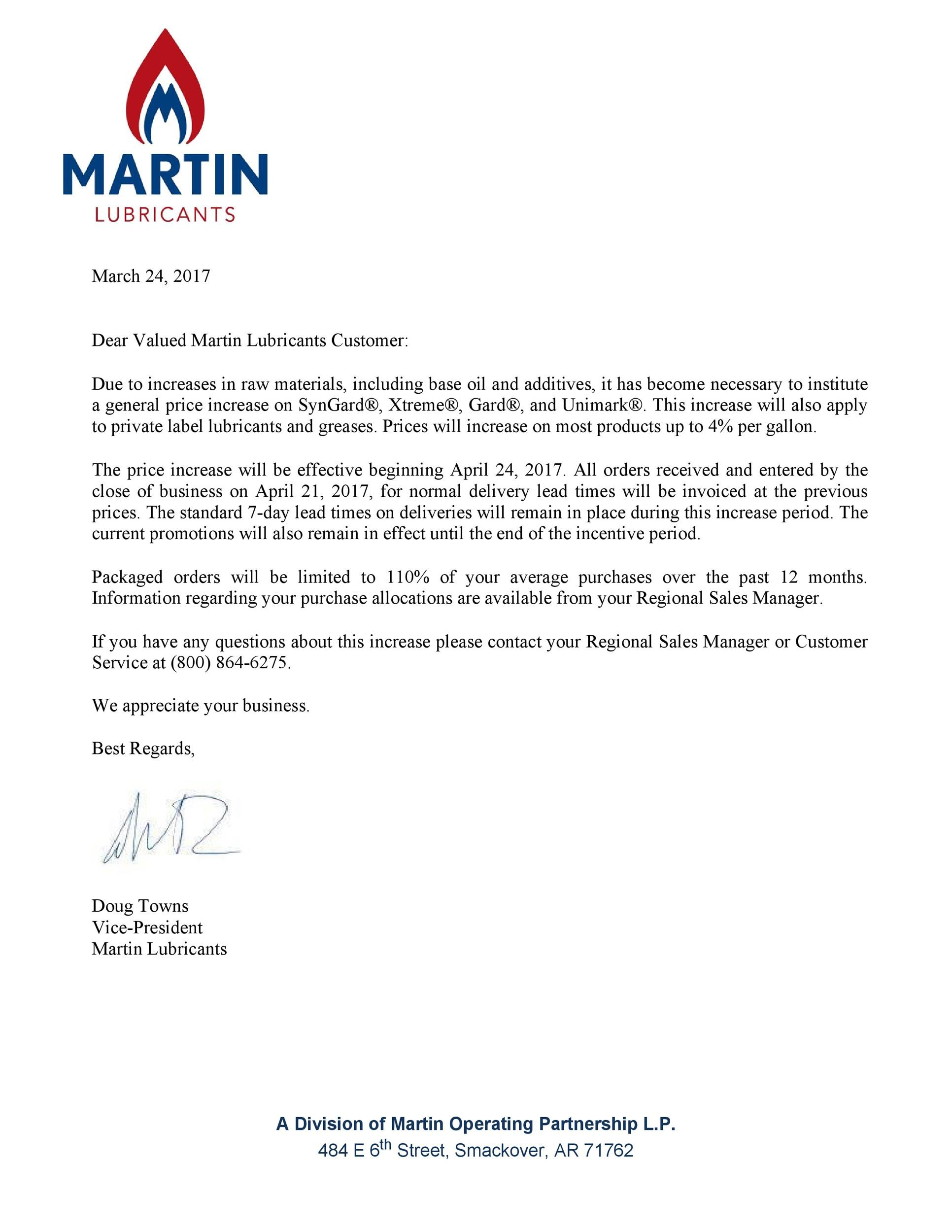 Free price increase letter 29
