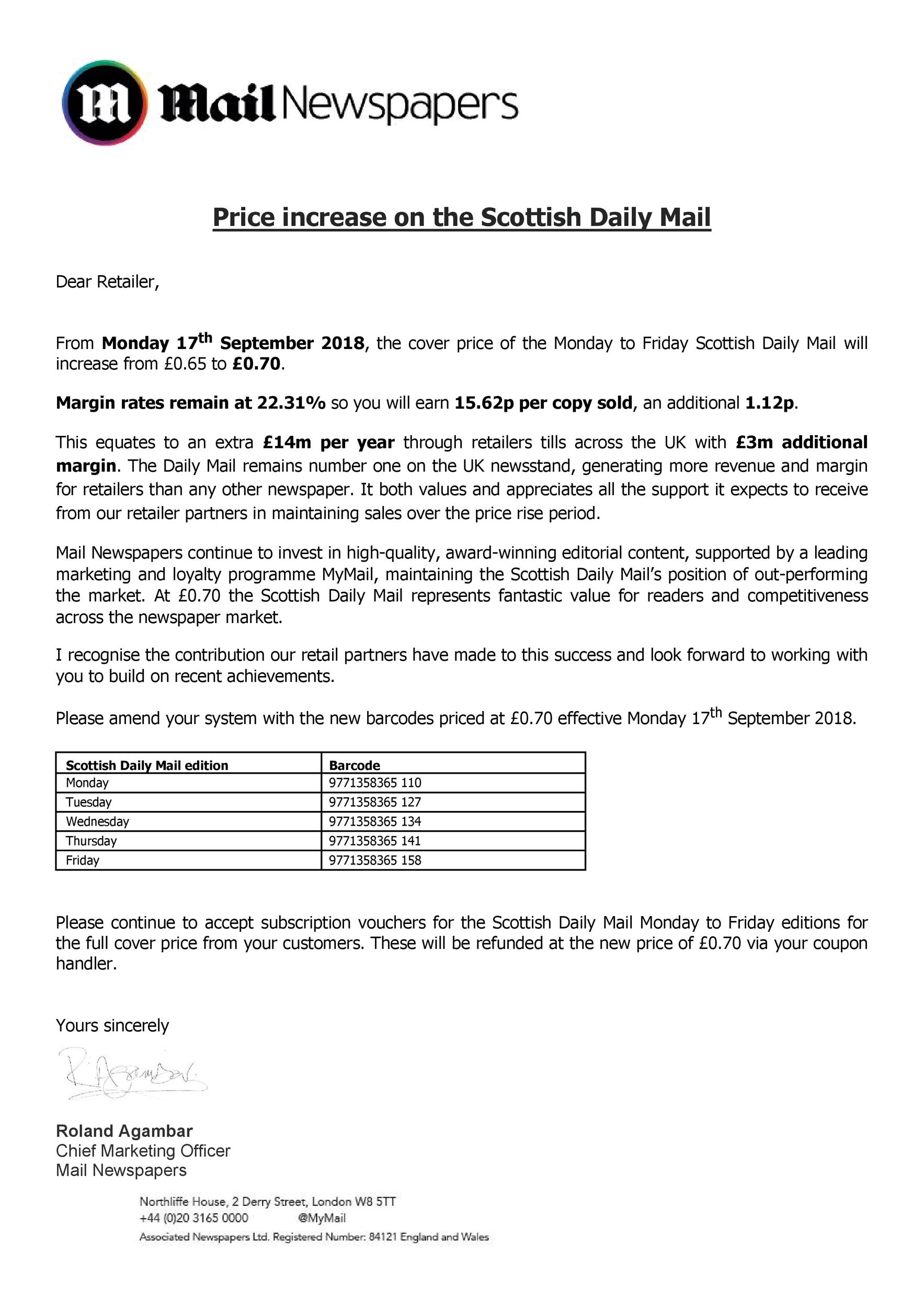 Free price increase letter 38