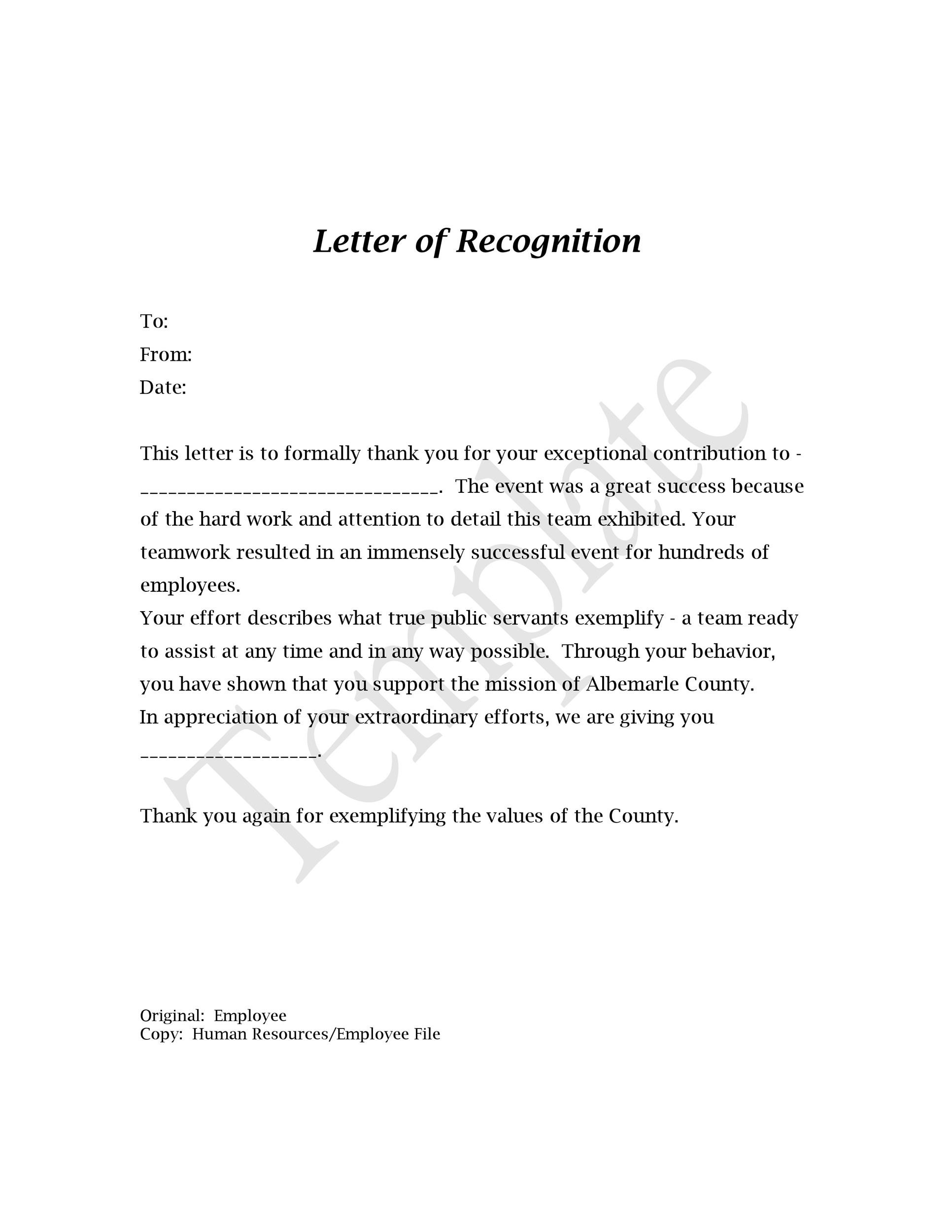 Employee Recognition Letter To Manager from templatelab.com