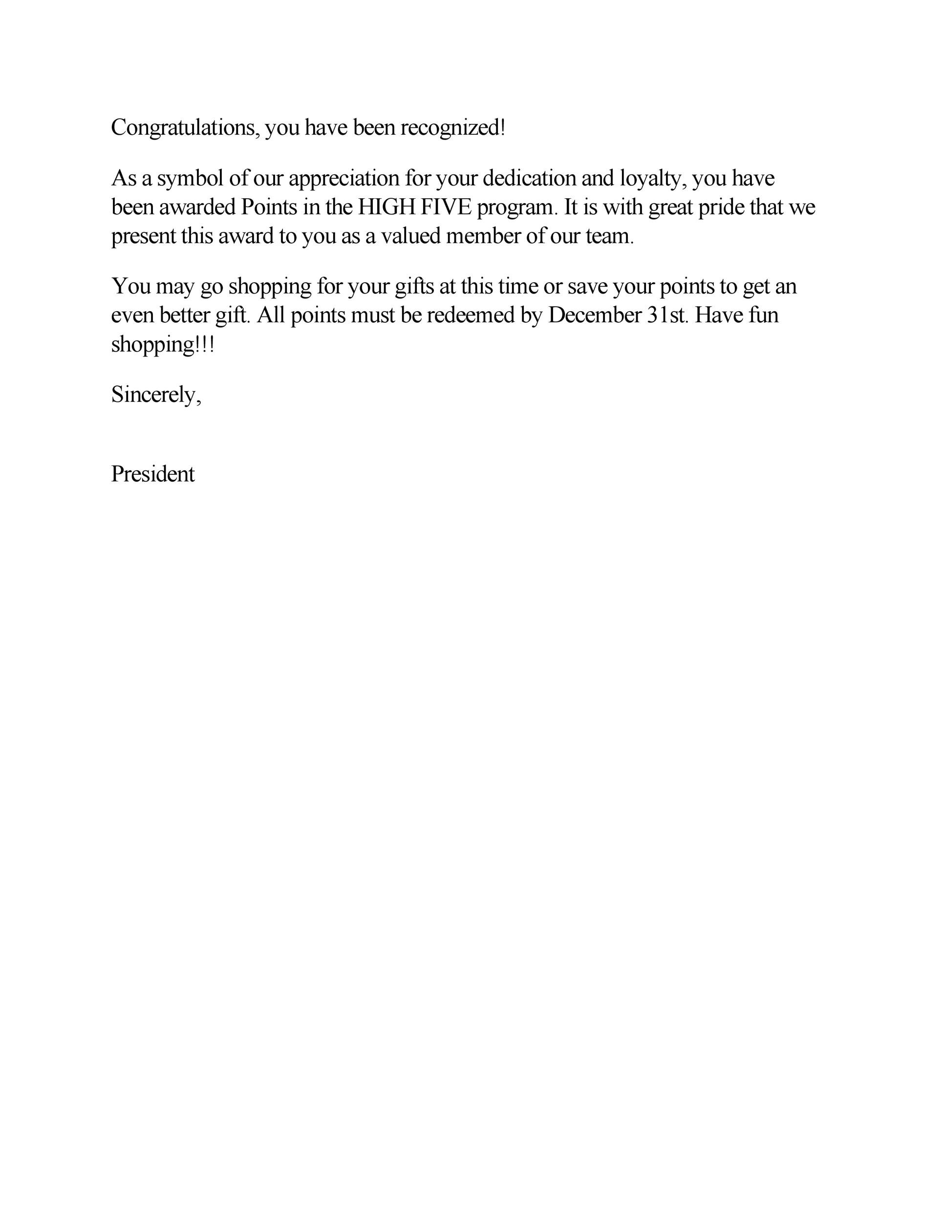 Free recognition letter 13