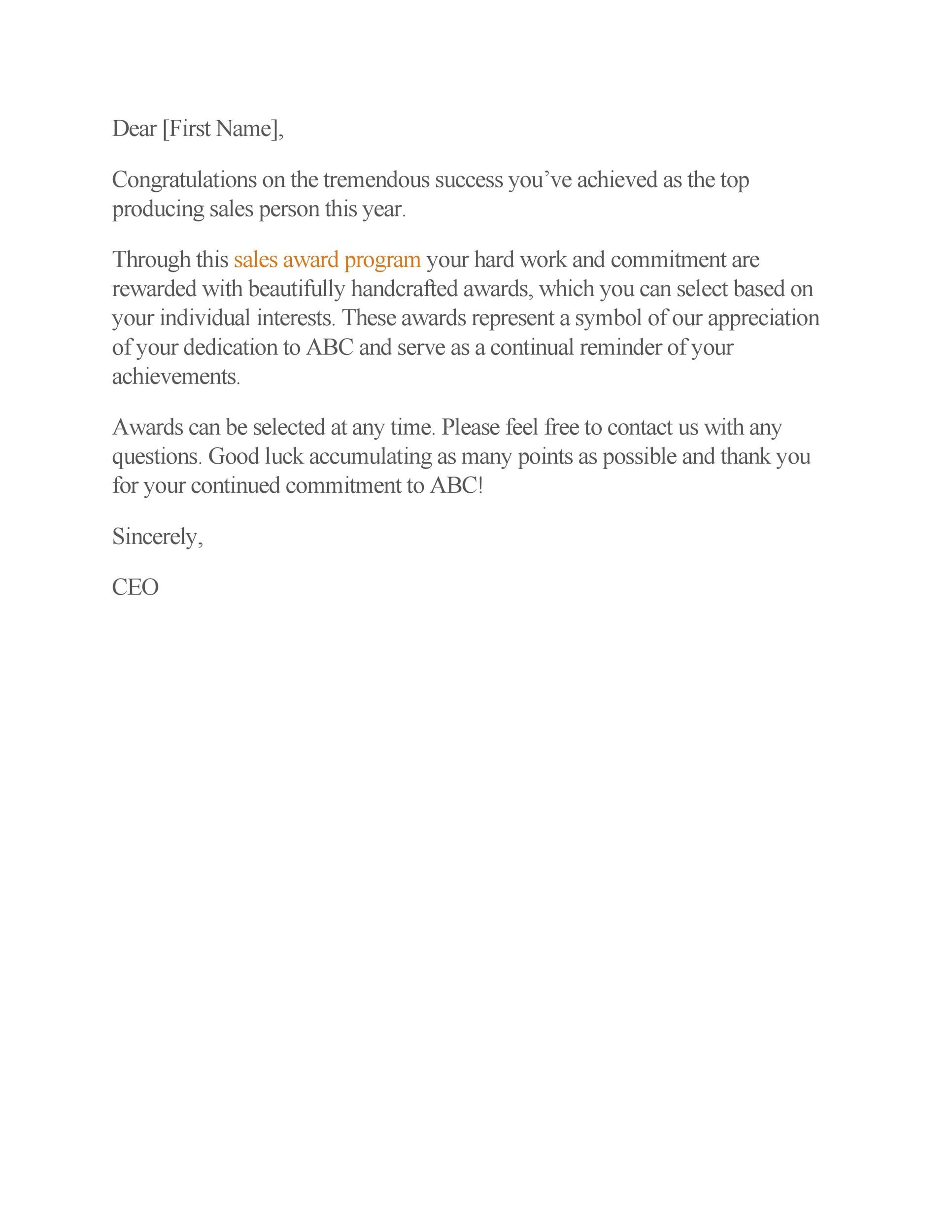 Free recognition letter 14