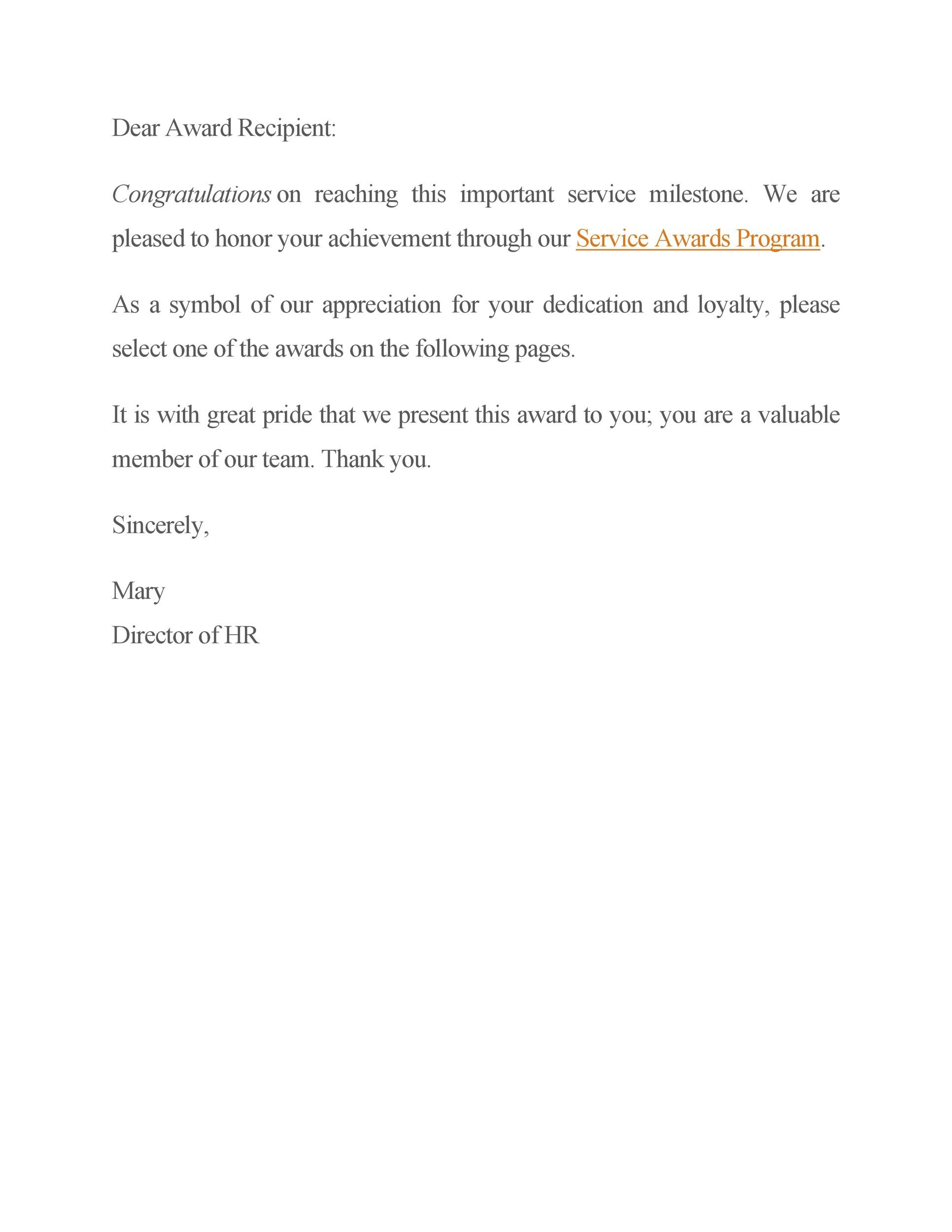 Free recognition letter 16