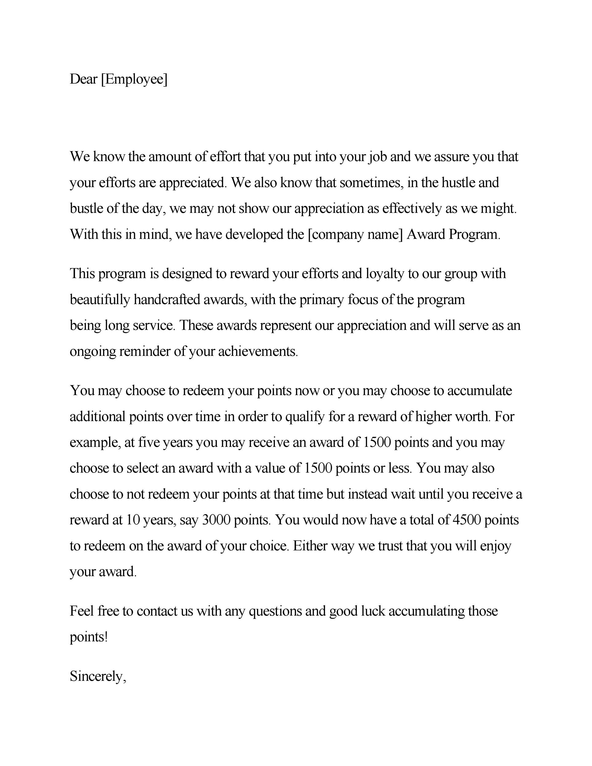 Free recognition letter 24