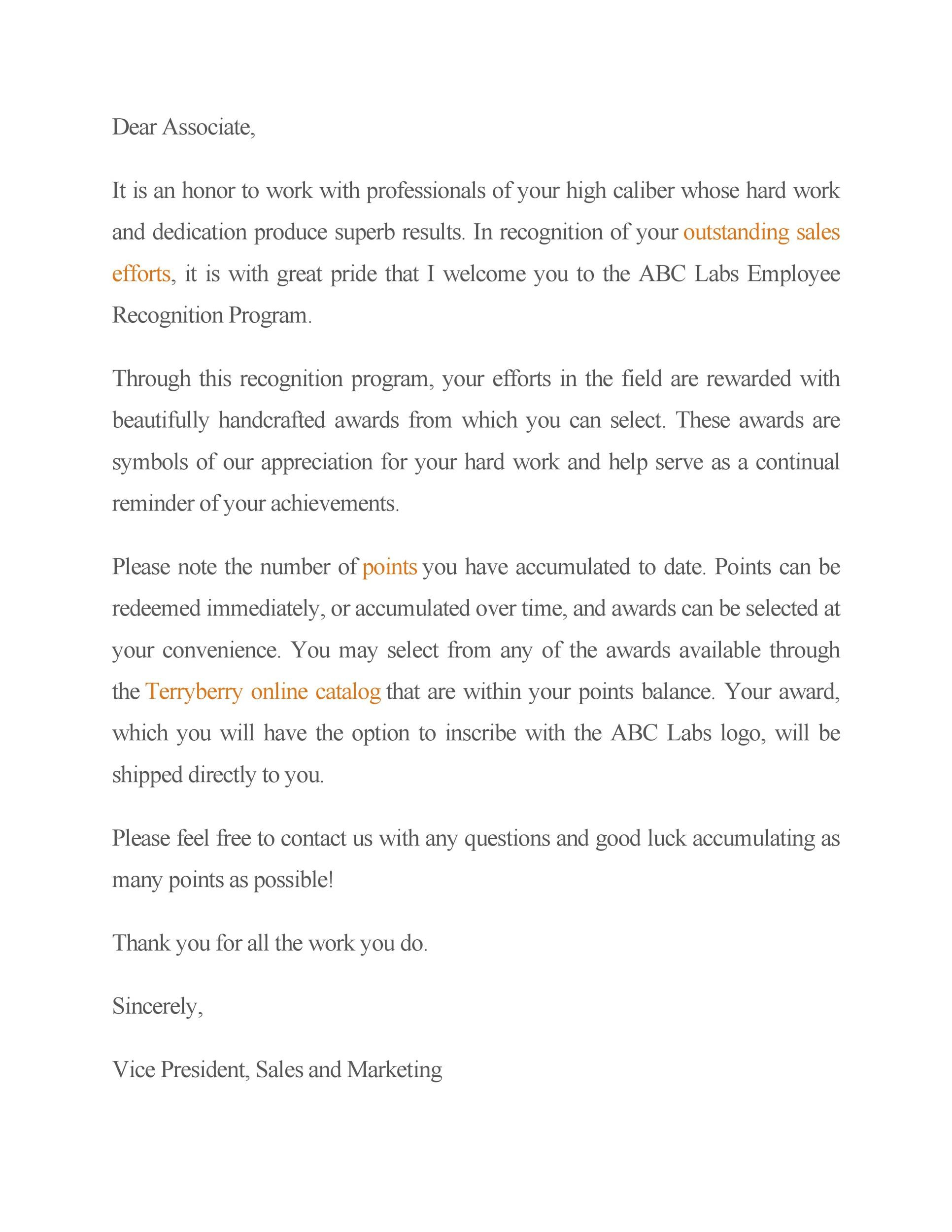 Free recognition letter 25