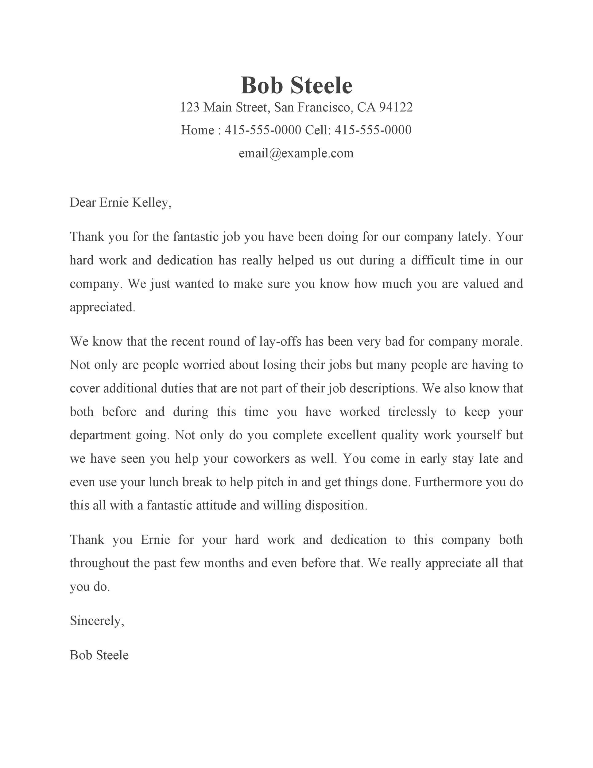 Free recognition letter 29