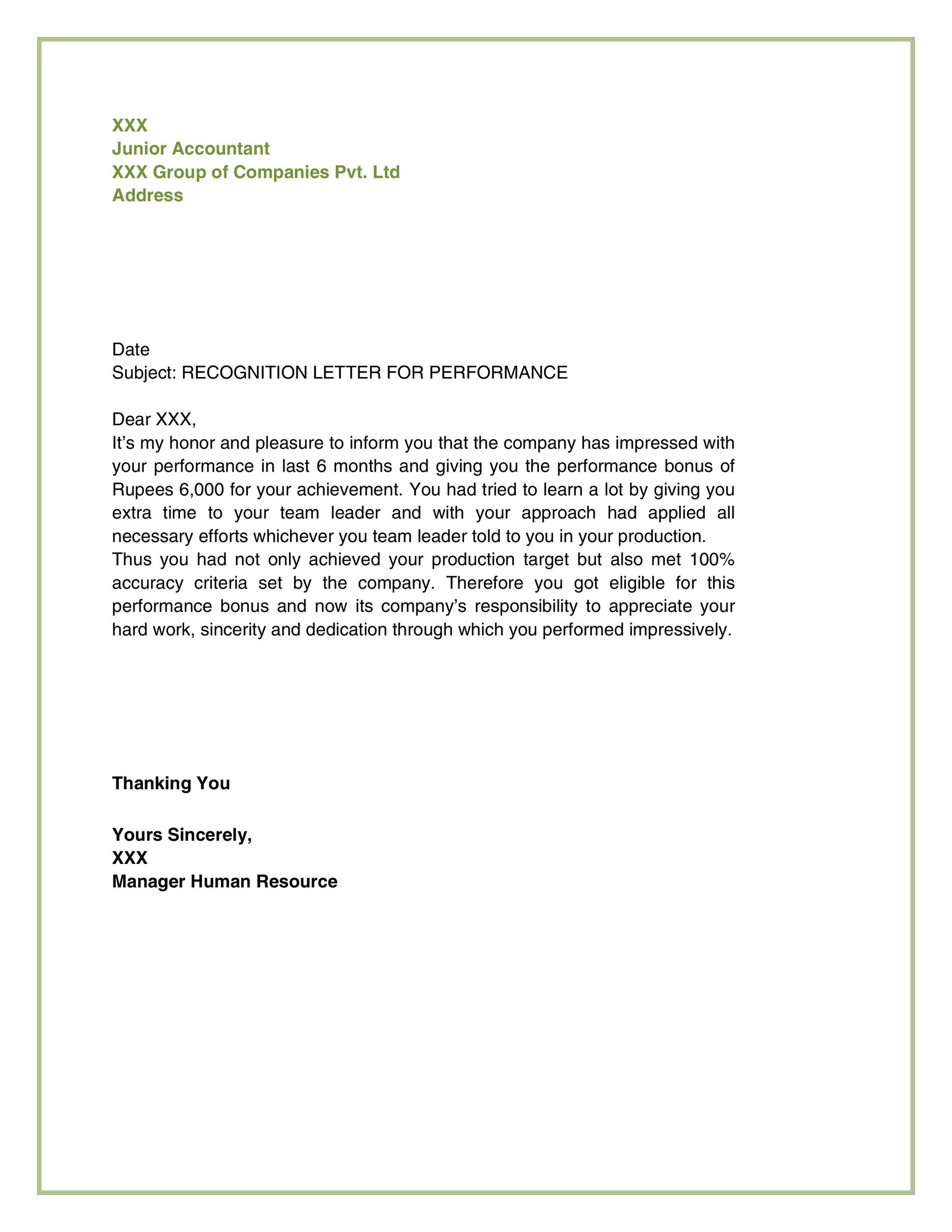 Free recognition letter 33