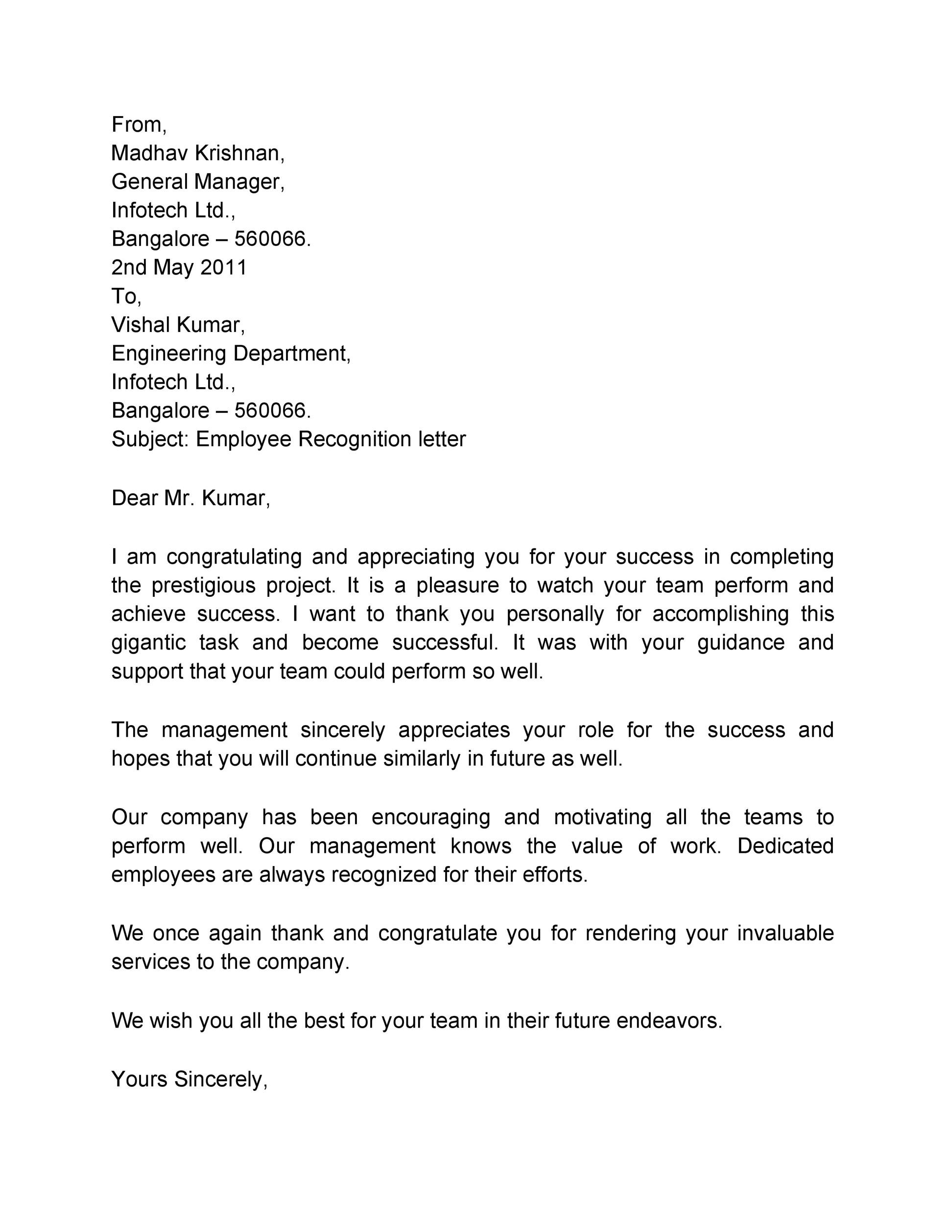 Free recognition letter 39