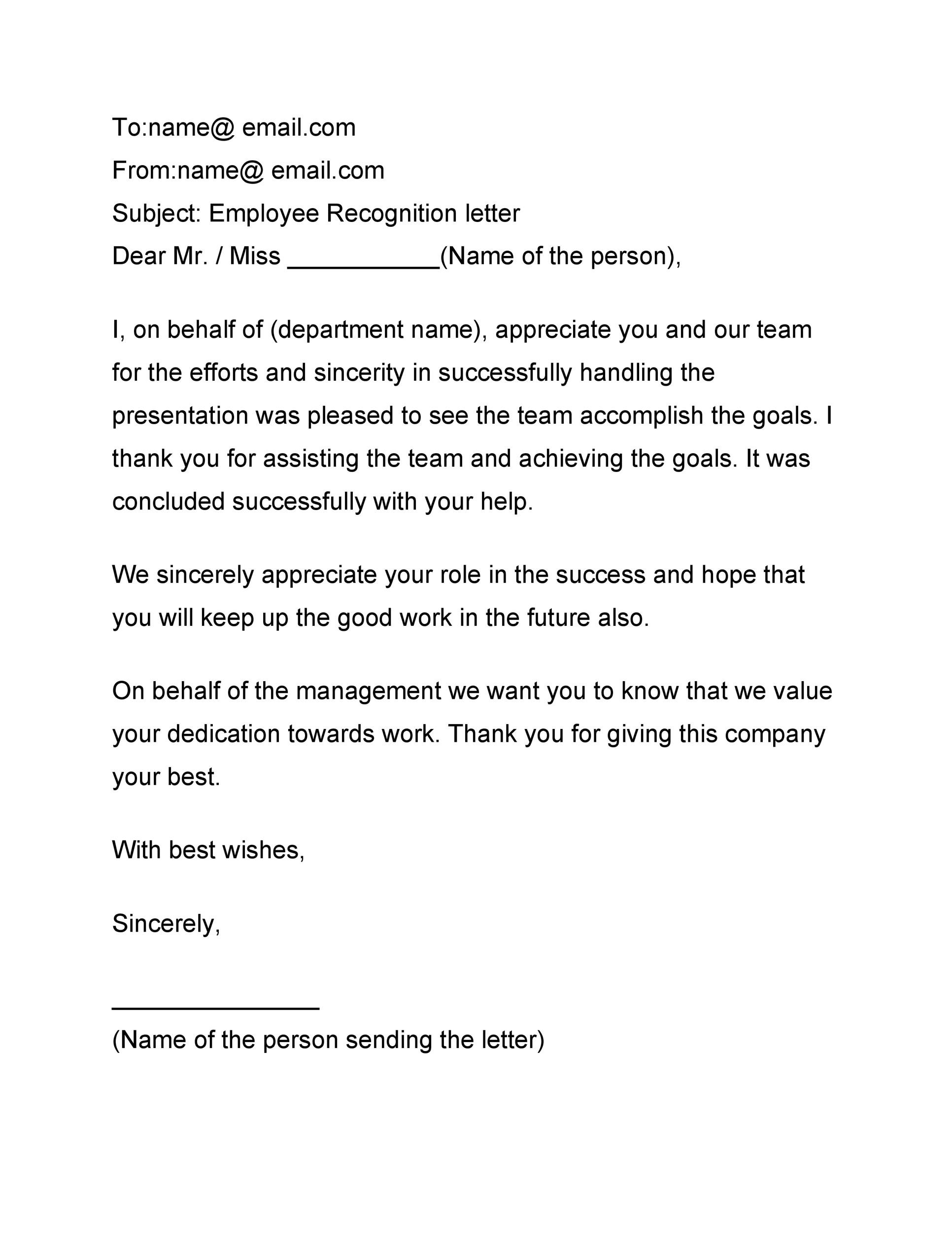 Free recognition letter 40