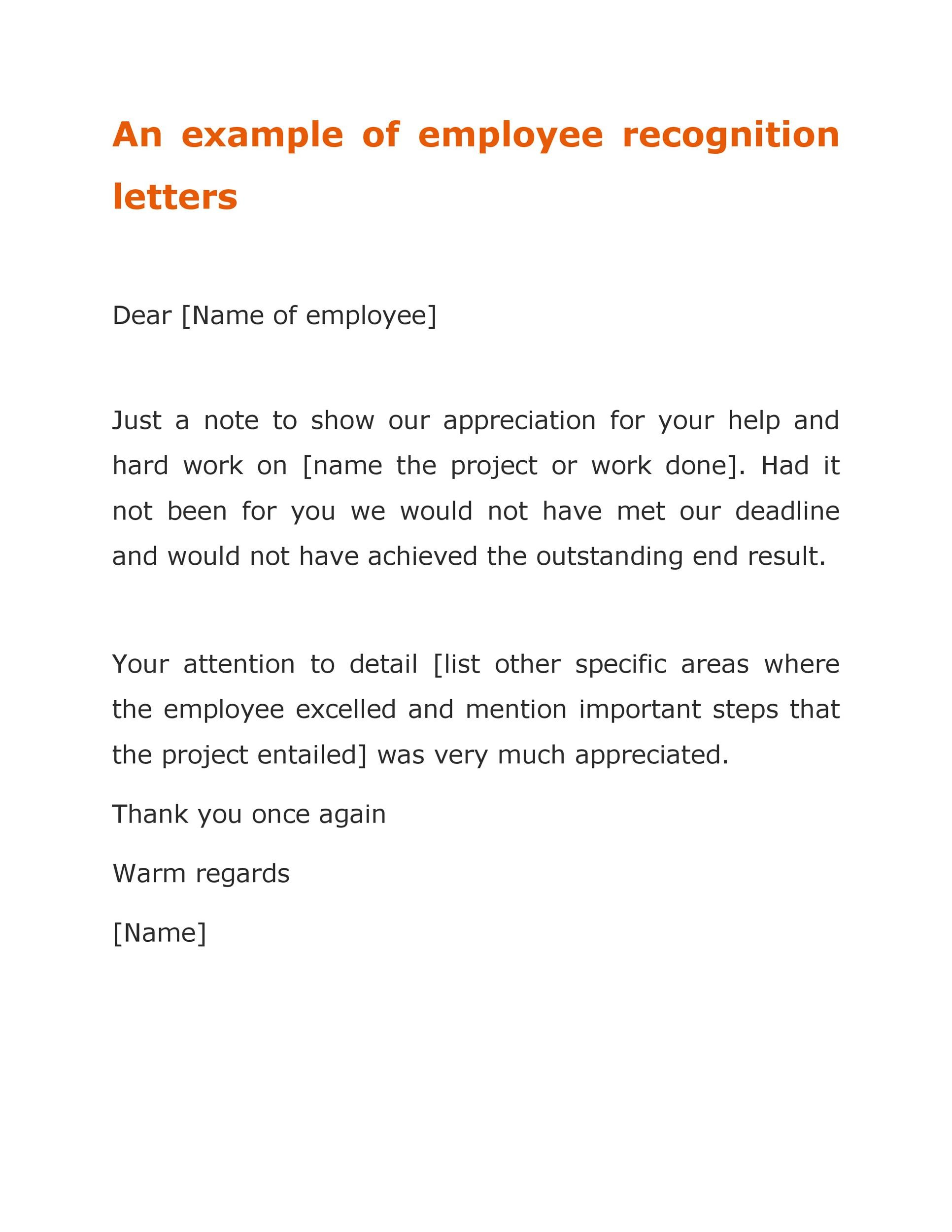 49 Printable Employee Recognition Letters (100% FREE) ᐅ Template Lab