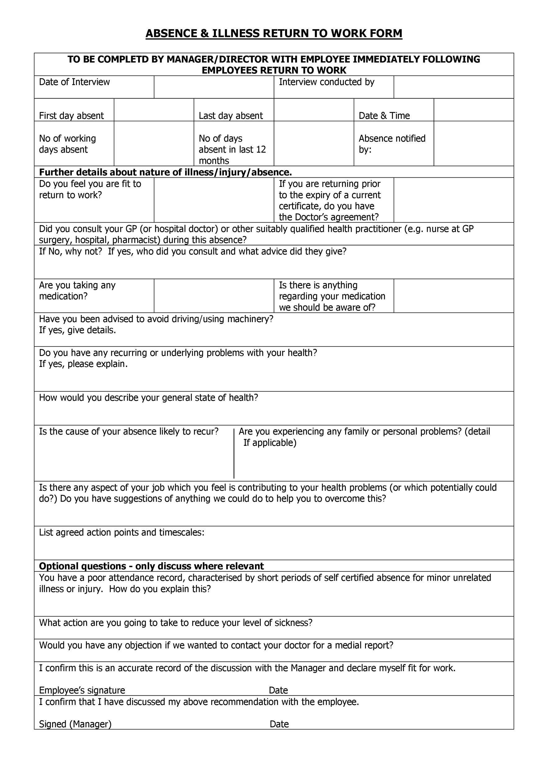 Free return to work form 01