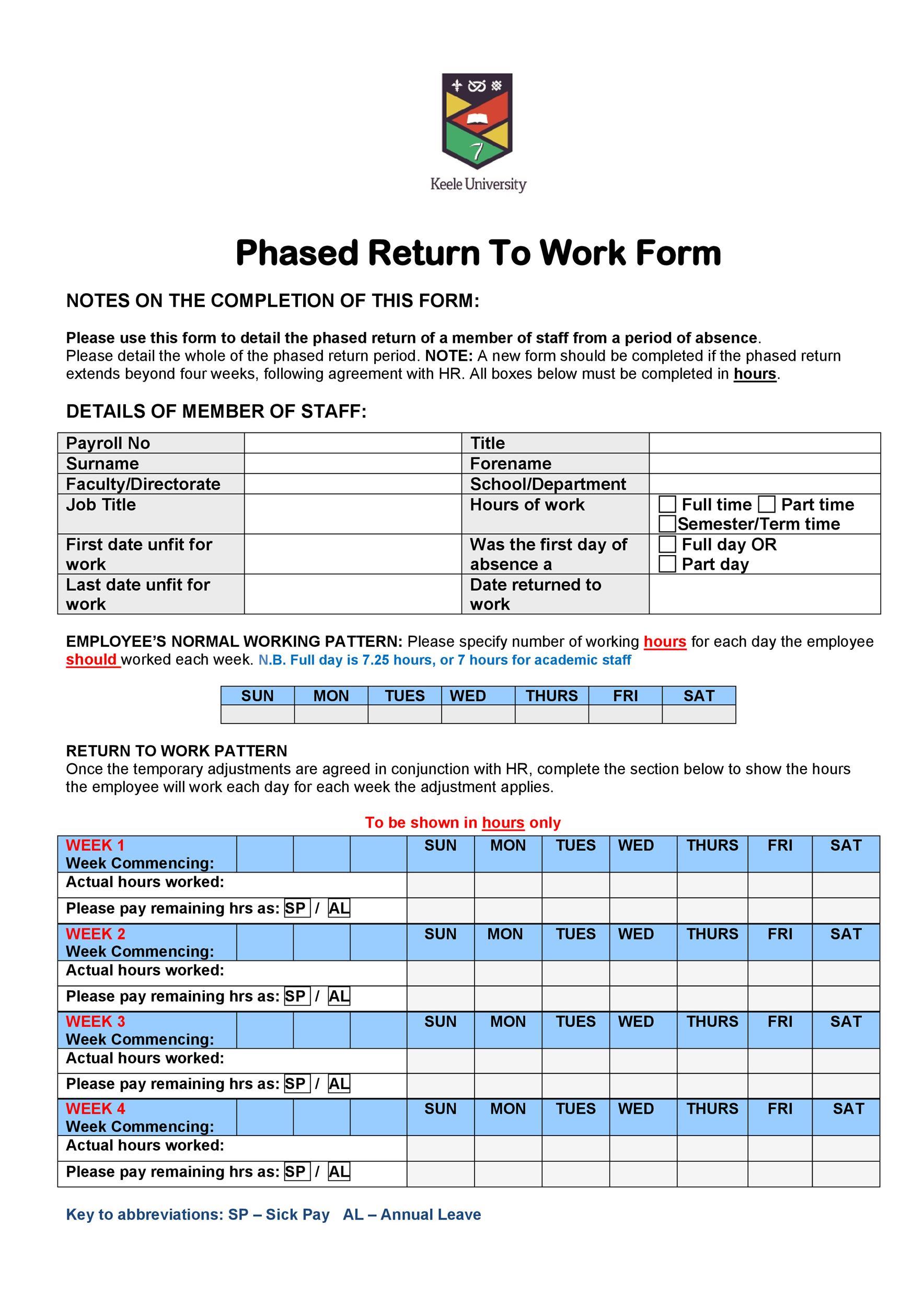 Free return to work form 03