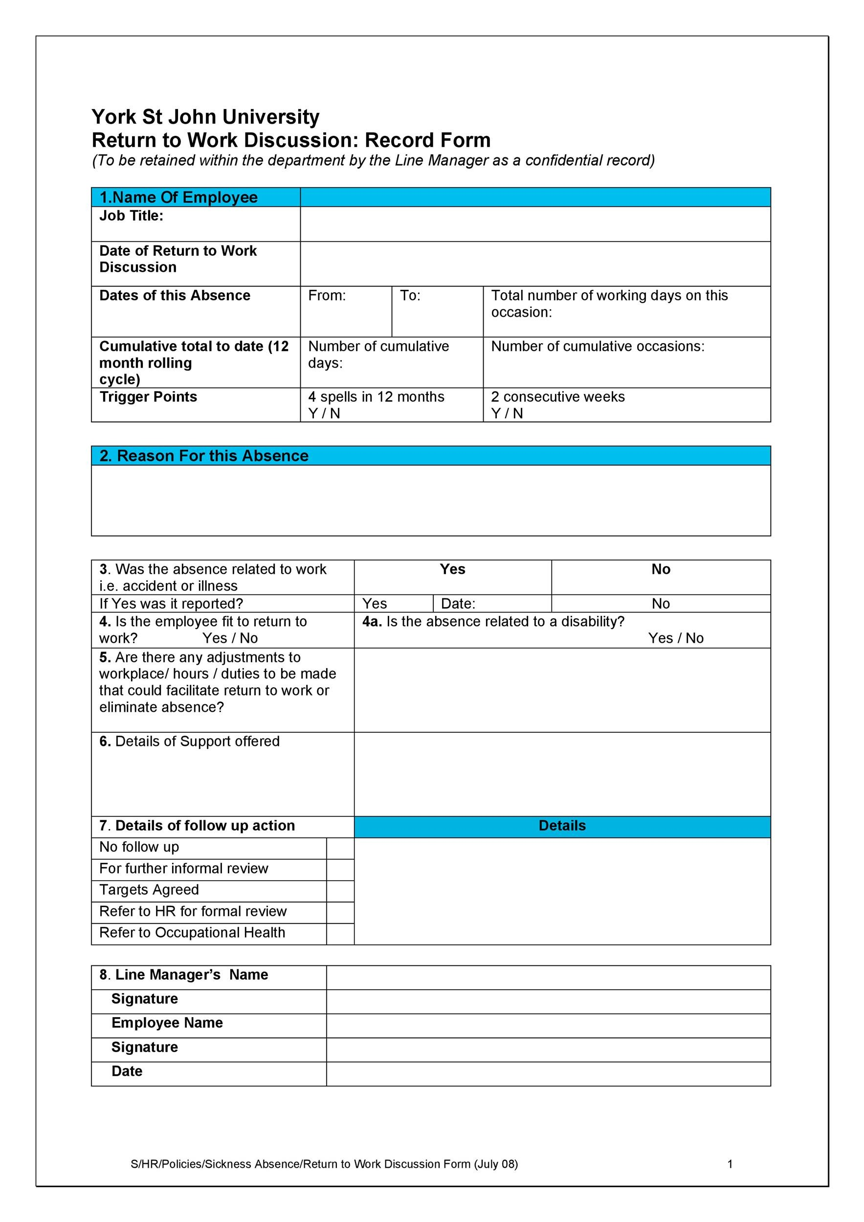 Free return to work form 11