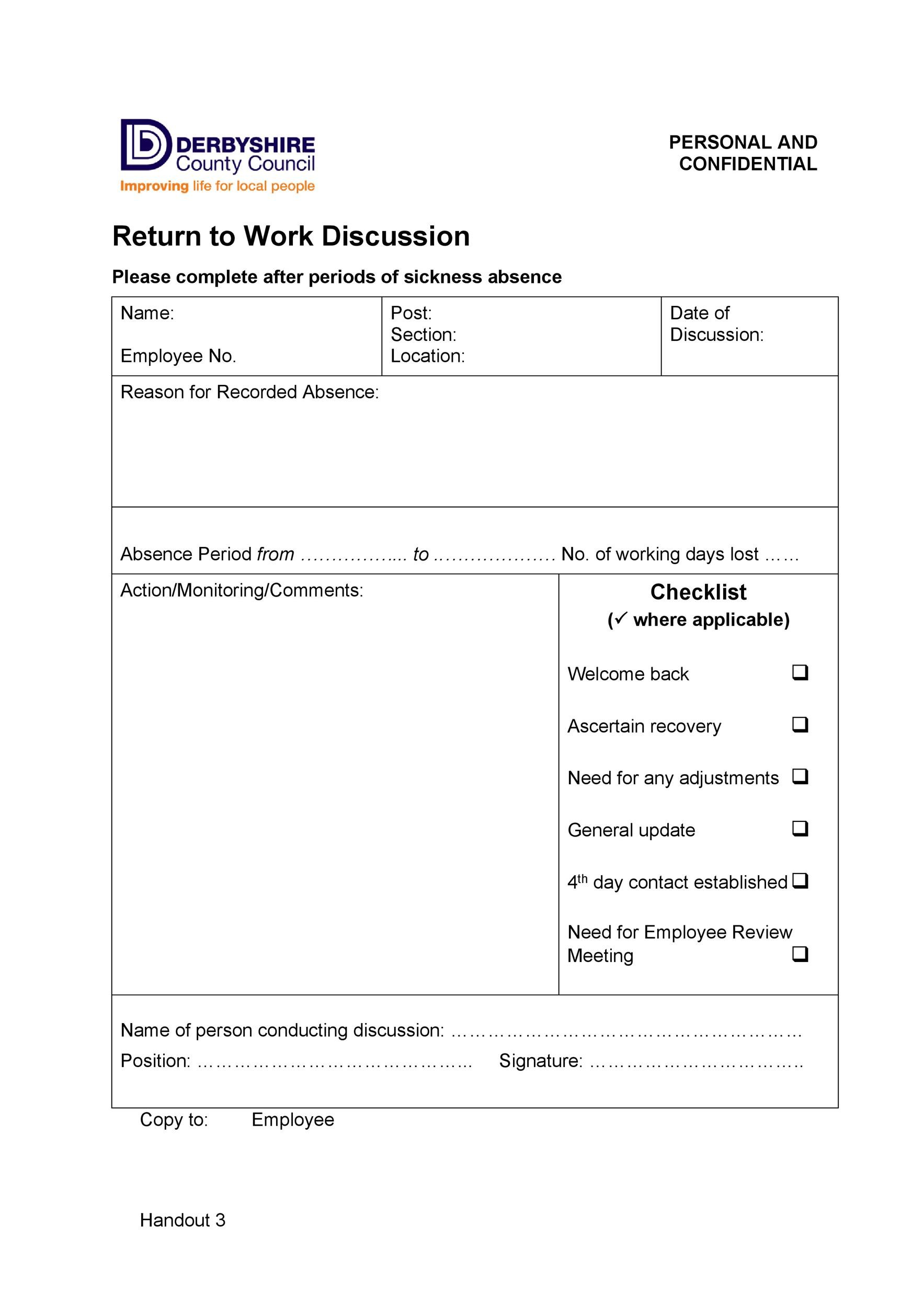 Free return to work form 12