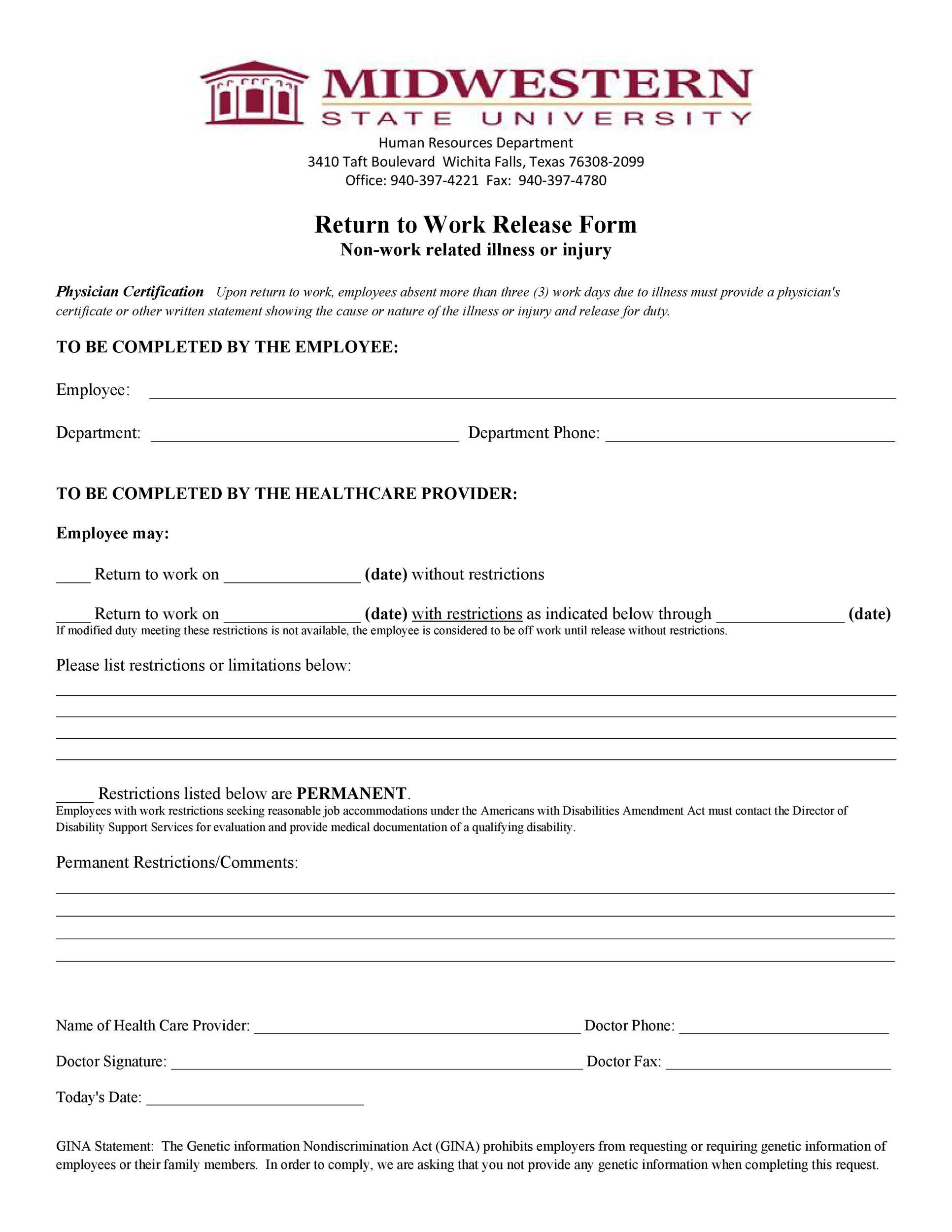 Free return to work form 20
