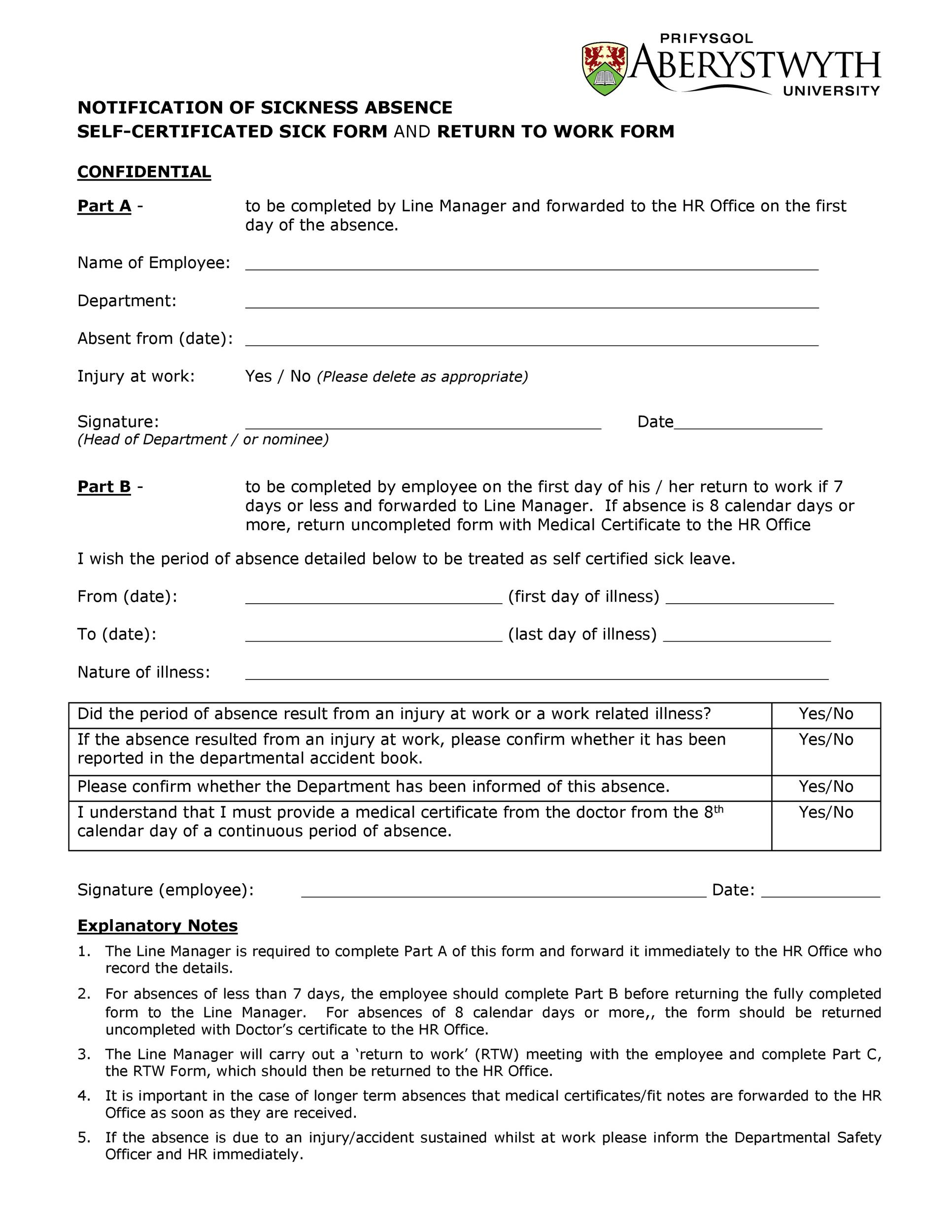 Free return to work form 21