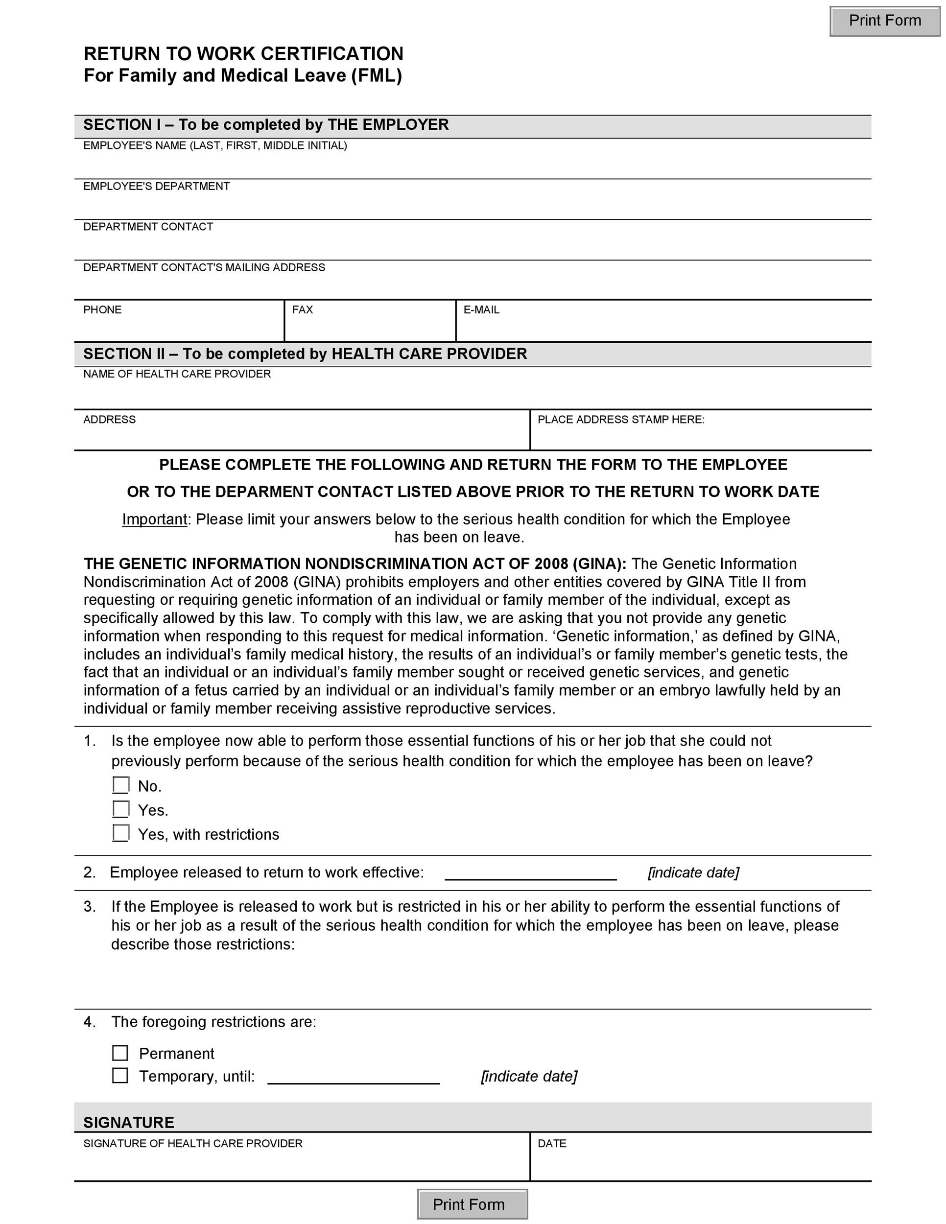 Free return to work form 22