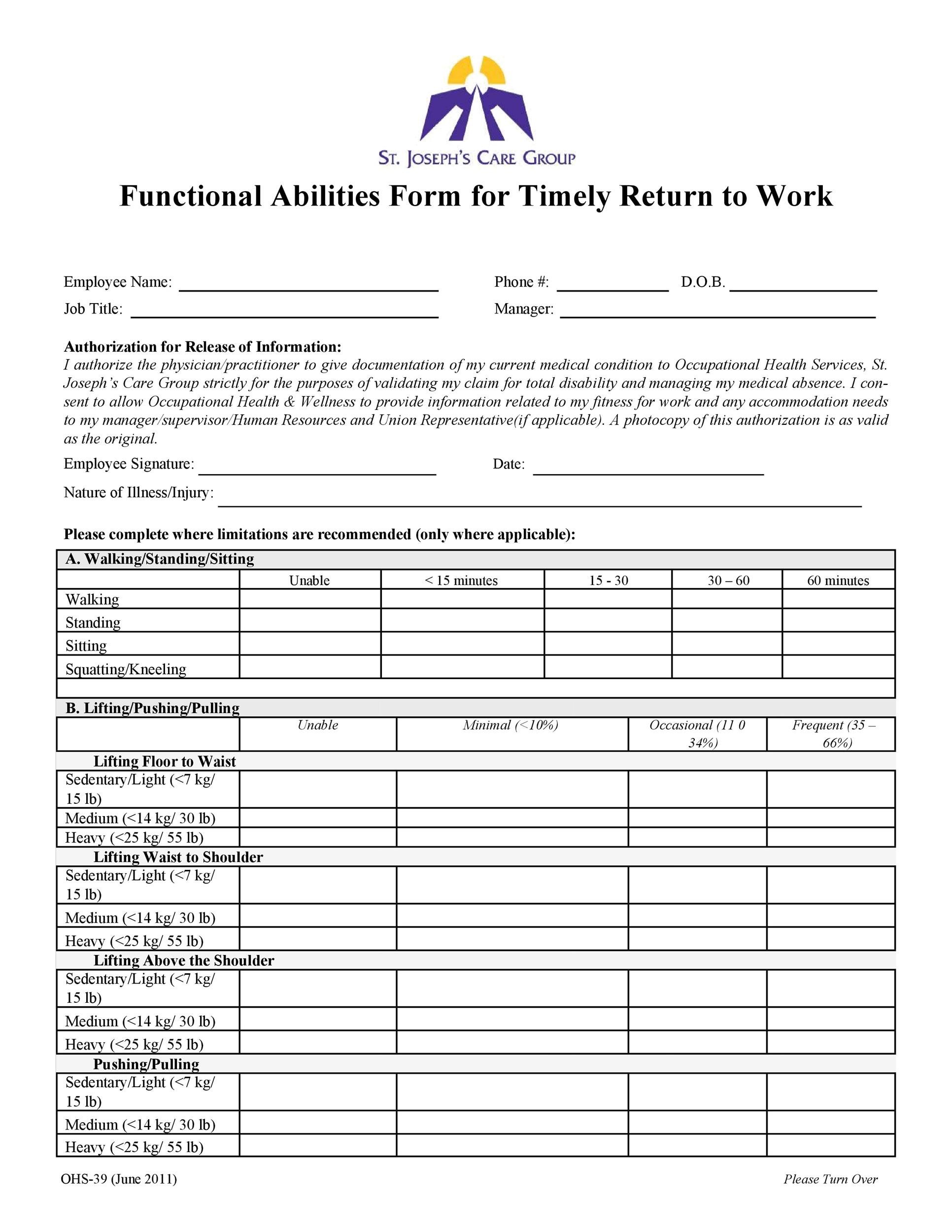 Free return to work form 23