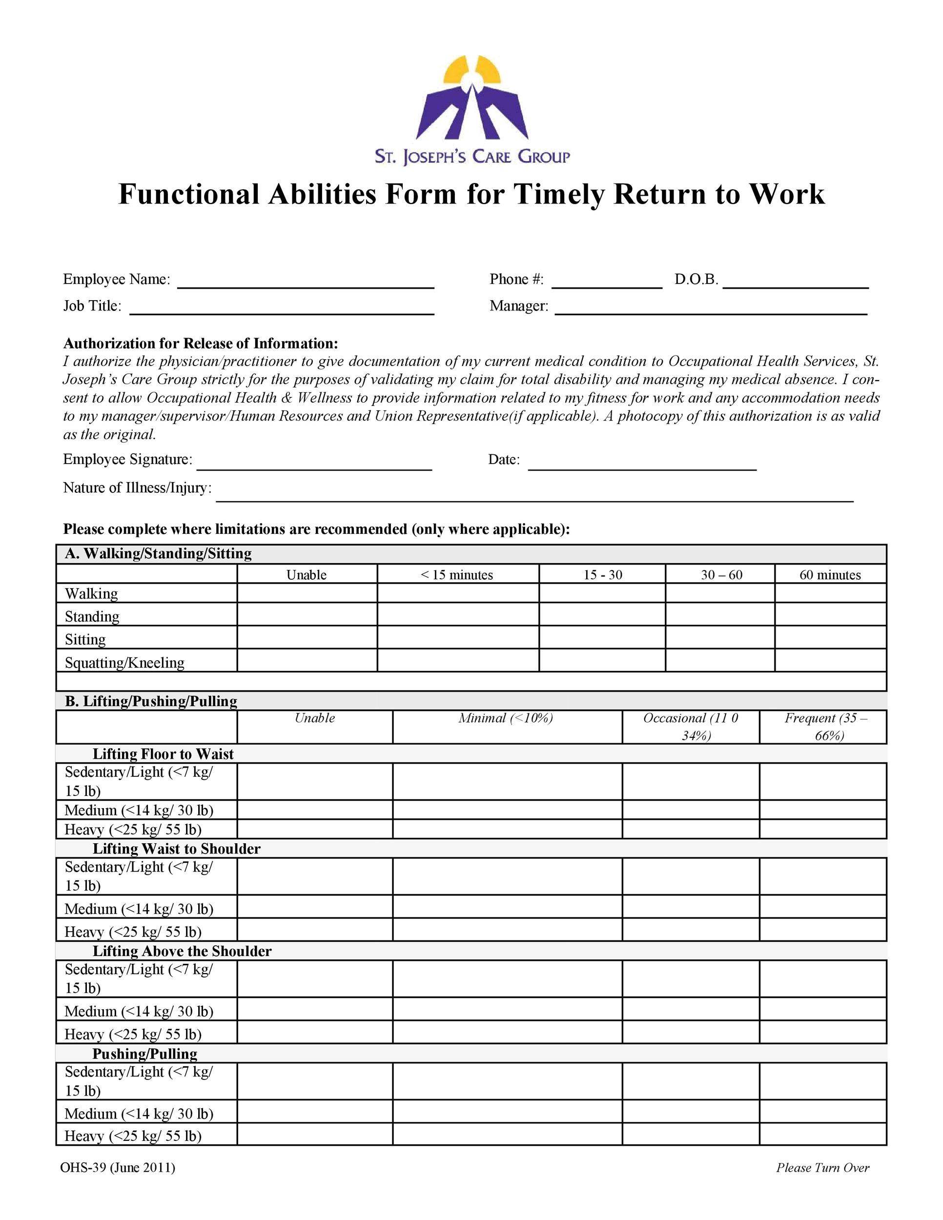 Free return to work form 23