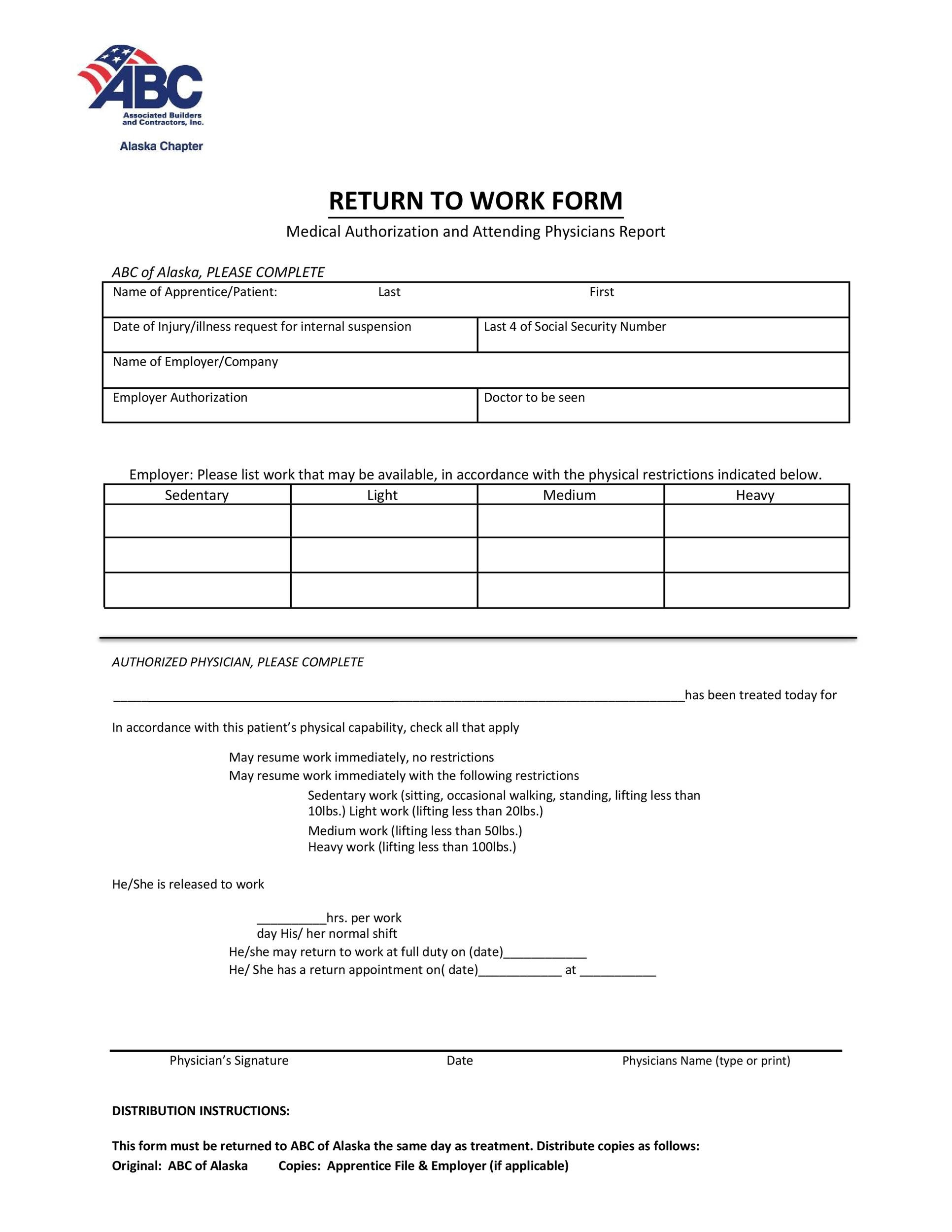 Free return to work form 25