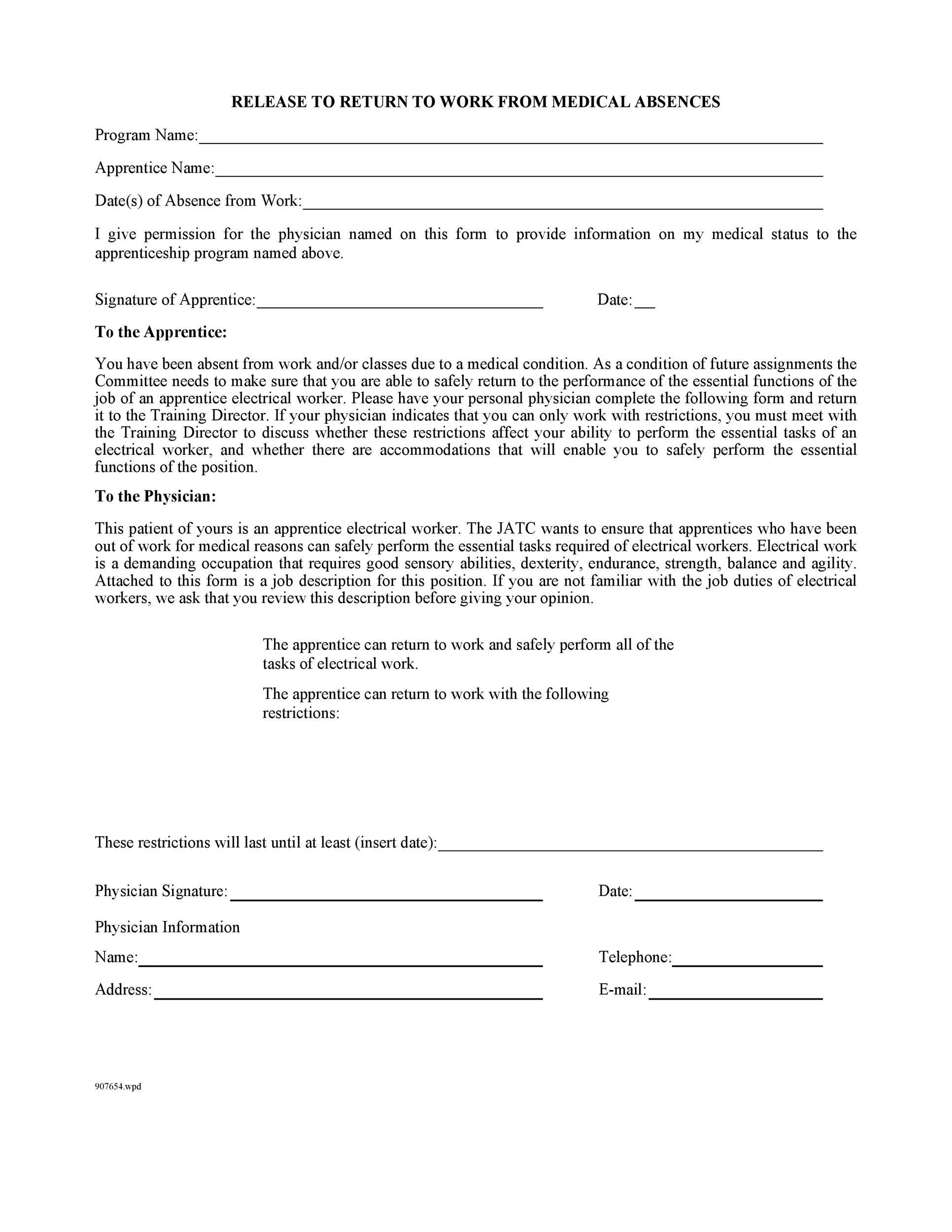 Free return to work form 27