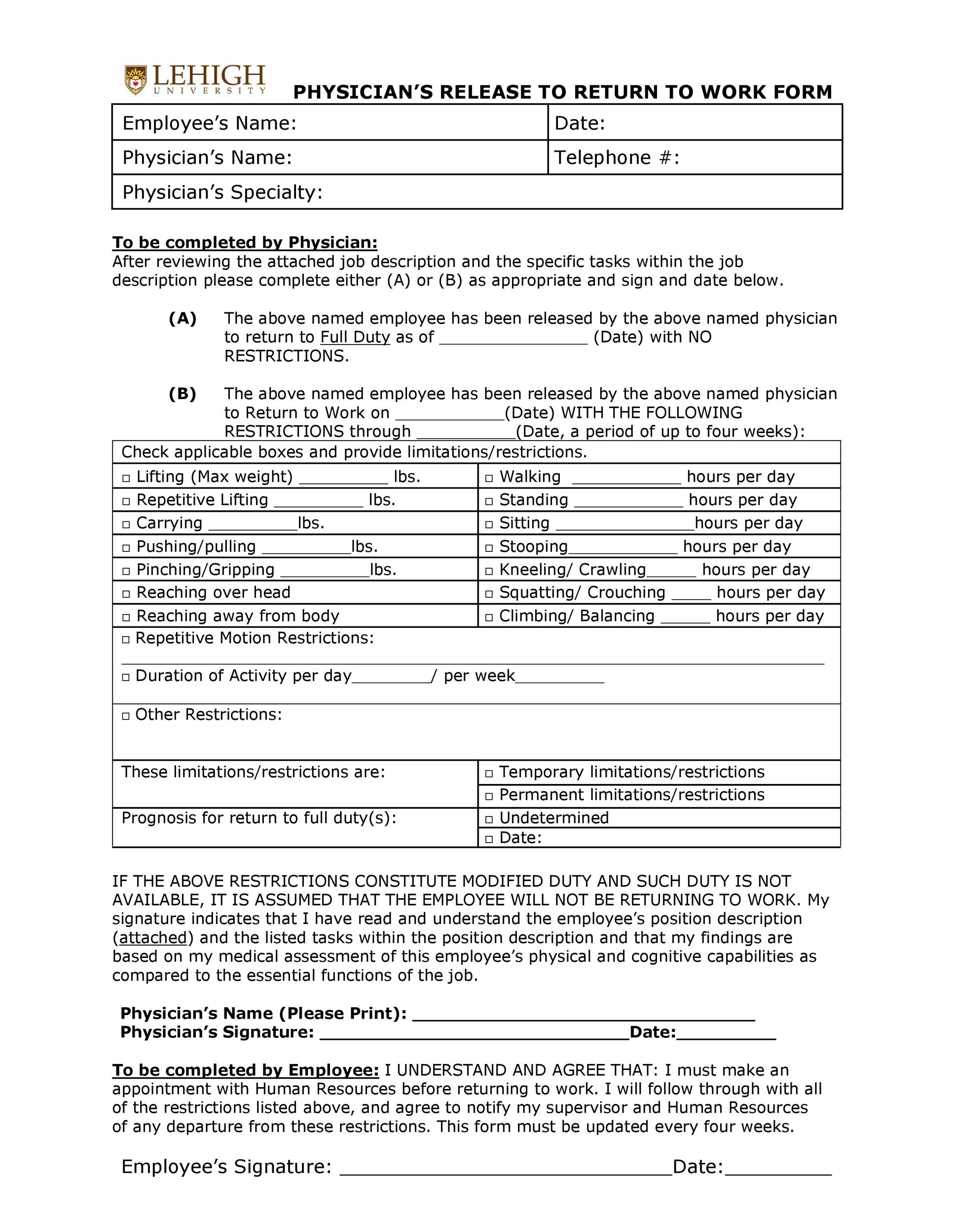 Free return to work form 30