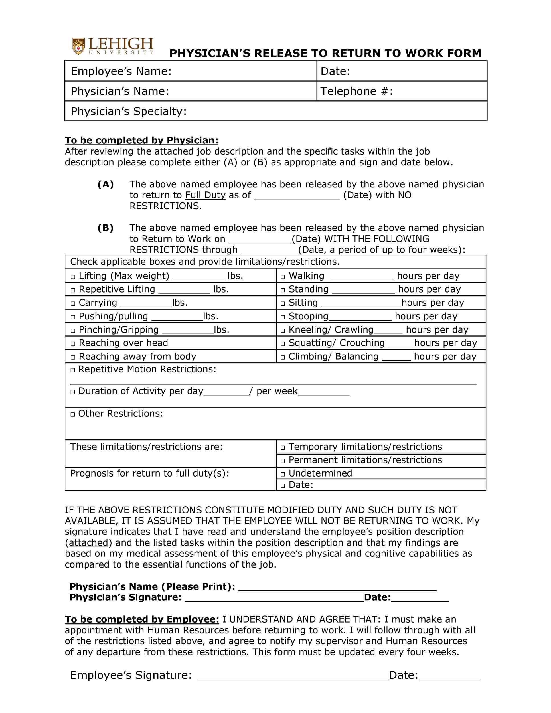 Free return to work form 30
