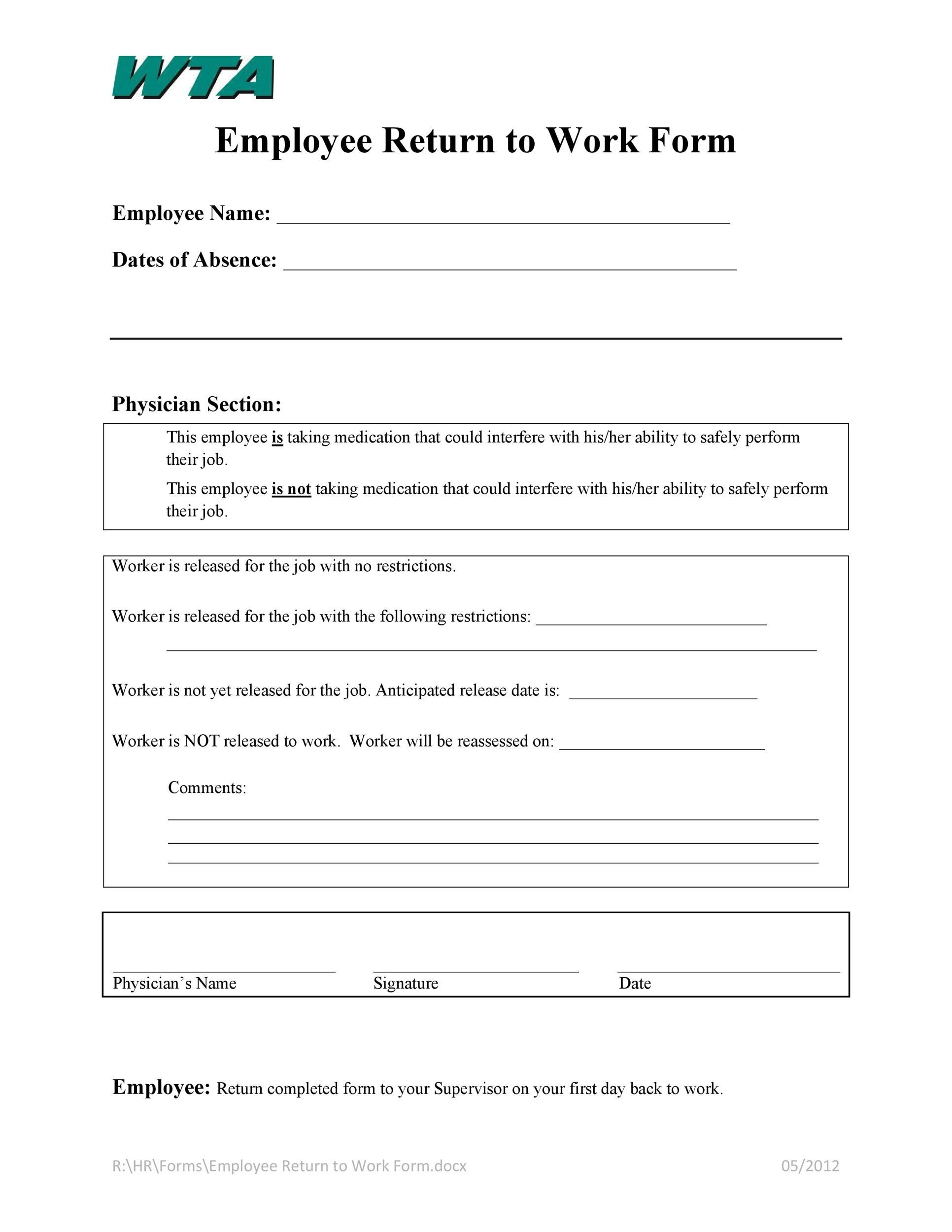 Free return to work form 31