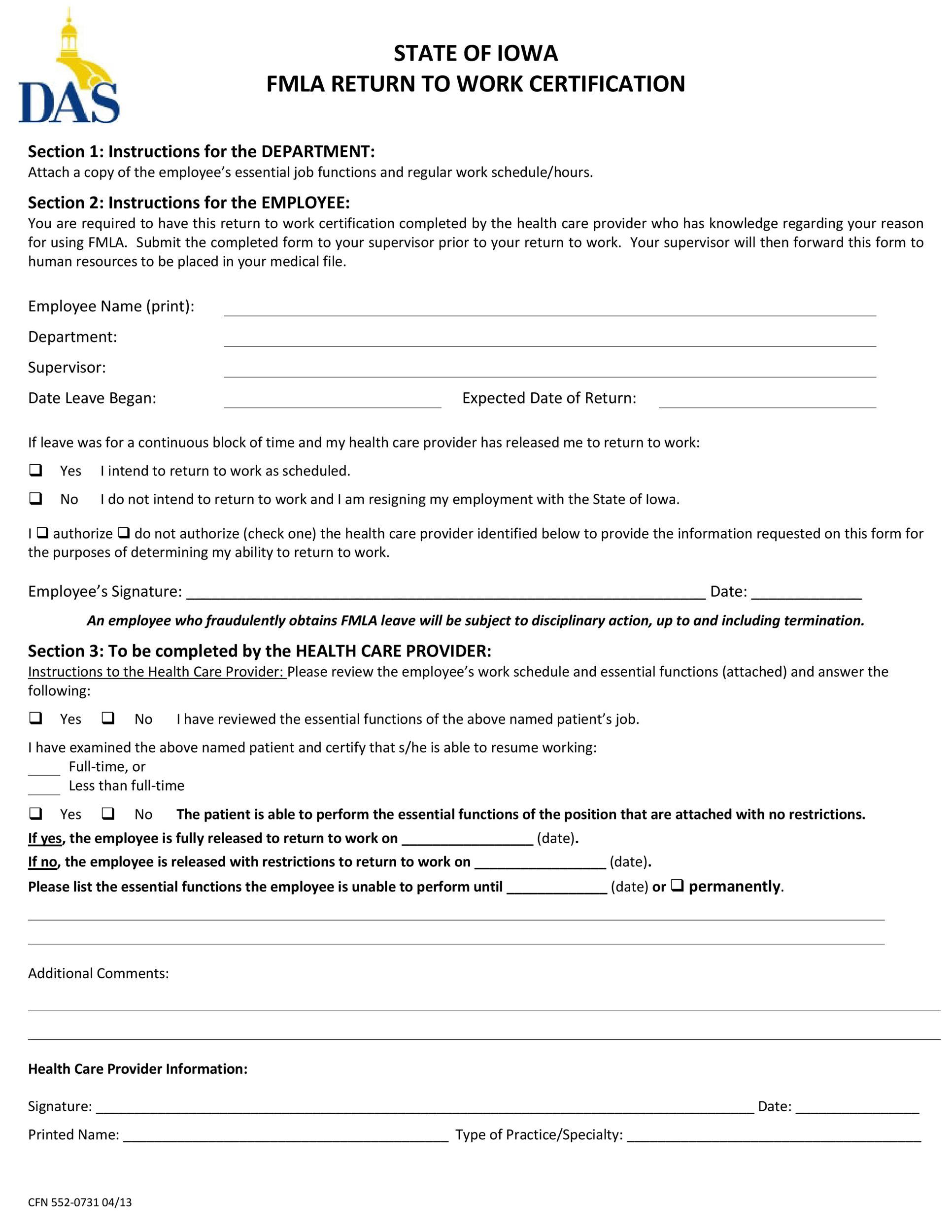 Free return to work form 32