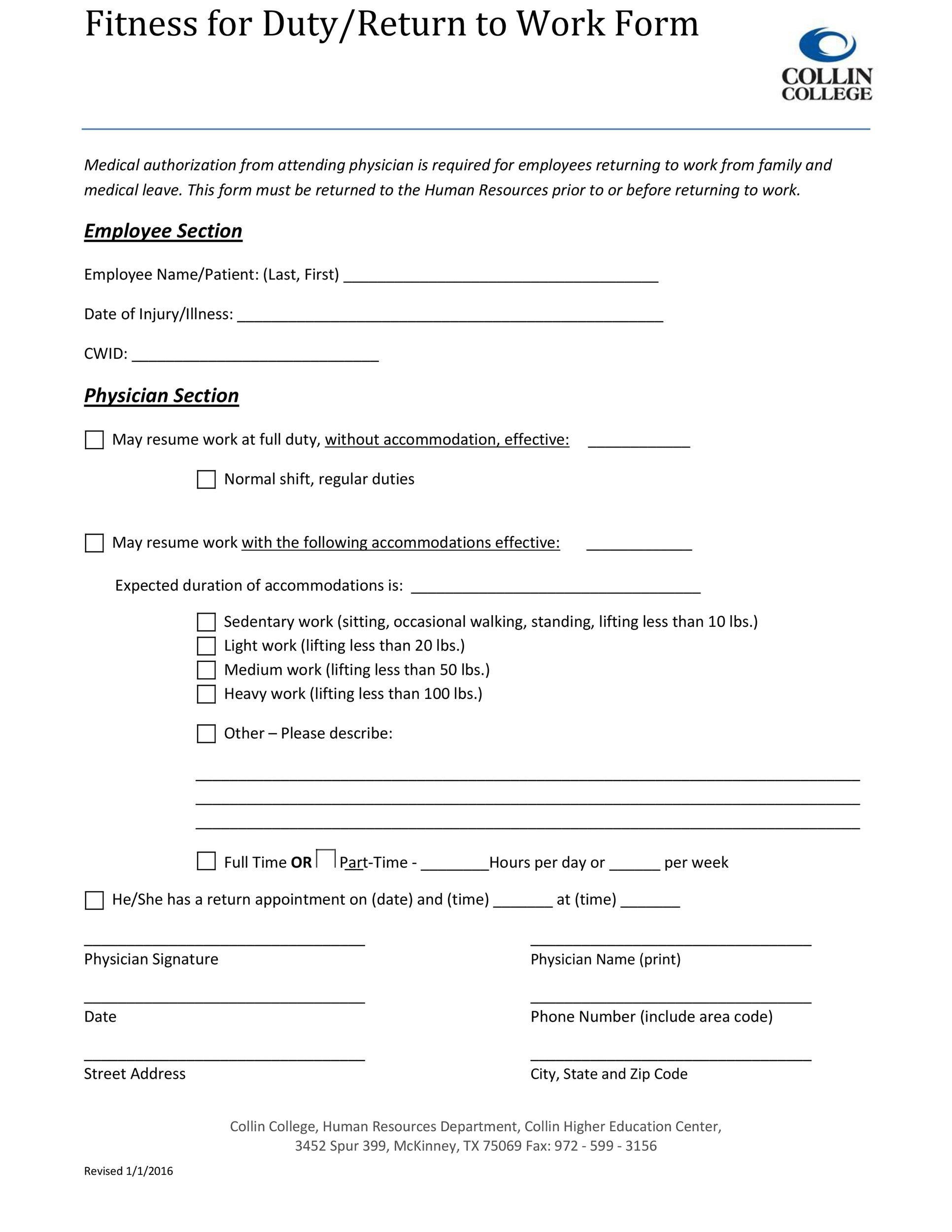 Free return to work form 33