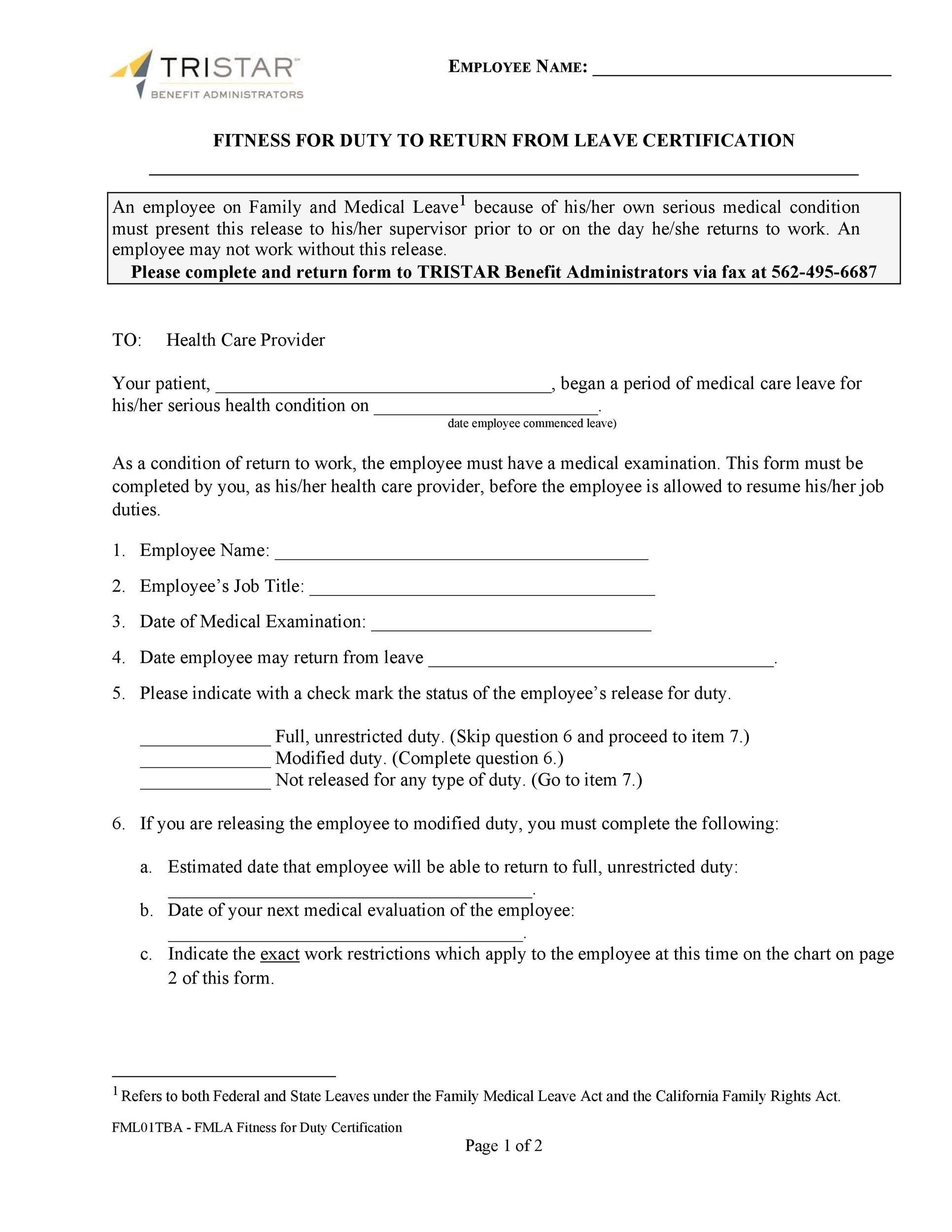 Free return to work form 34
